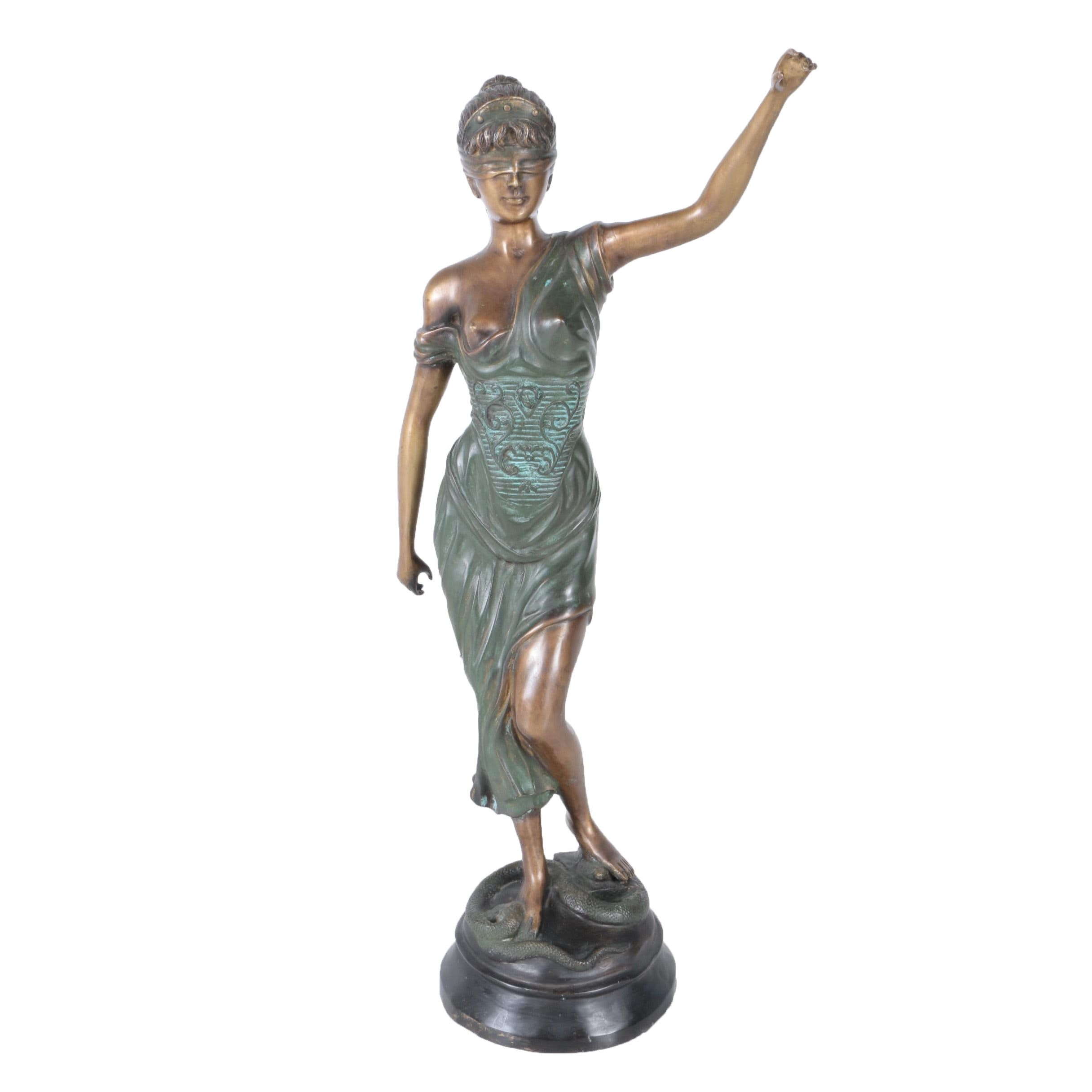 Cast Bronze Sculpture of Lady Justice