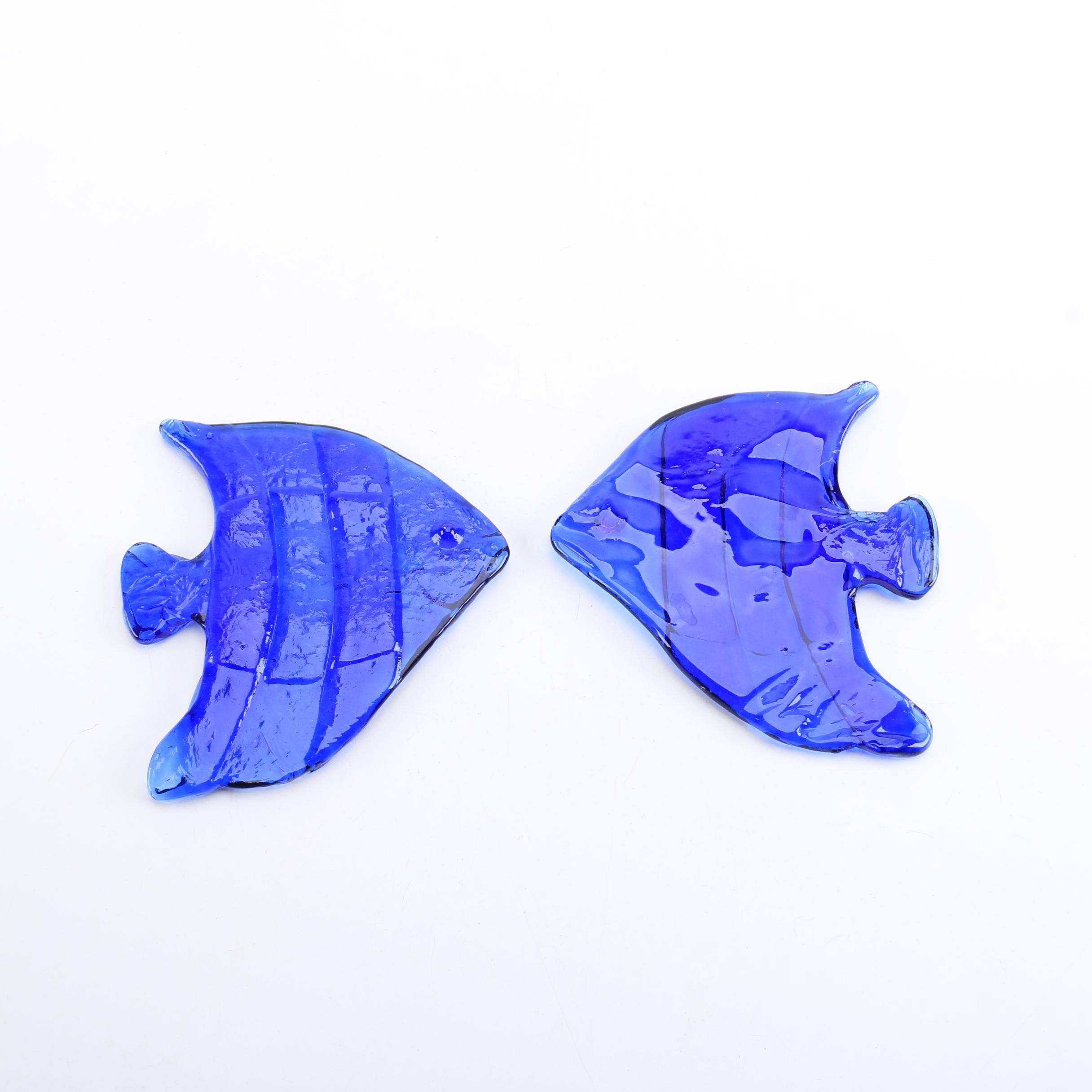 Cobalt Art Glass Fish Decor