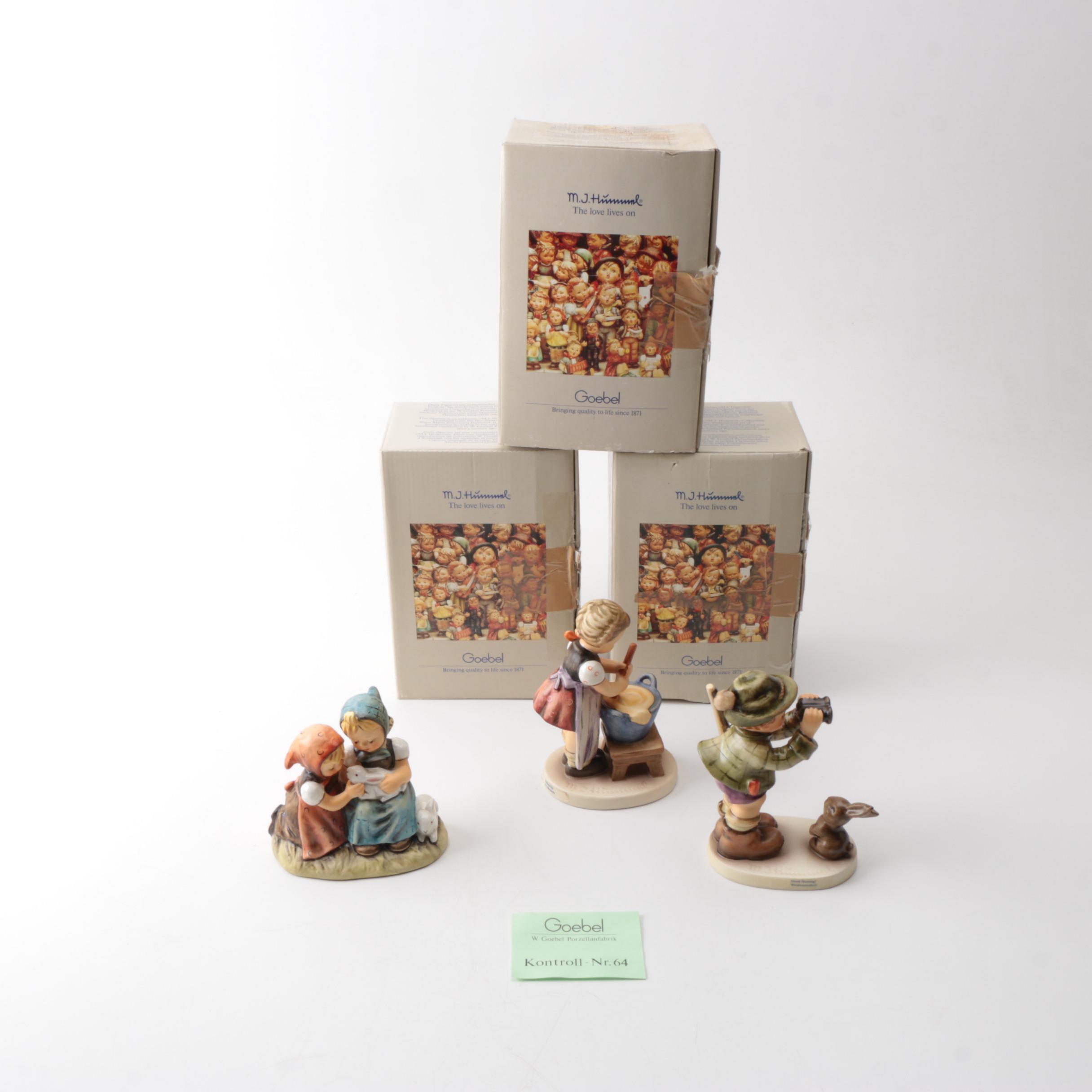 "Three Goebel Hummel Figurines Featuring ""Good Hunting"""