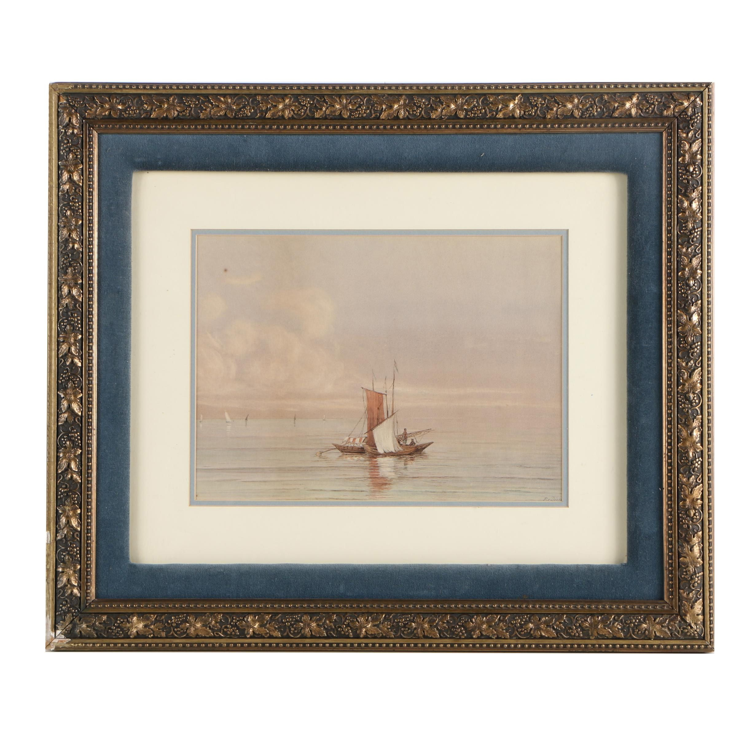 P. v Diess Watercolor on Paper Nautical Painting of Fishing Boats