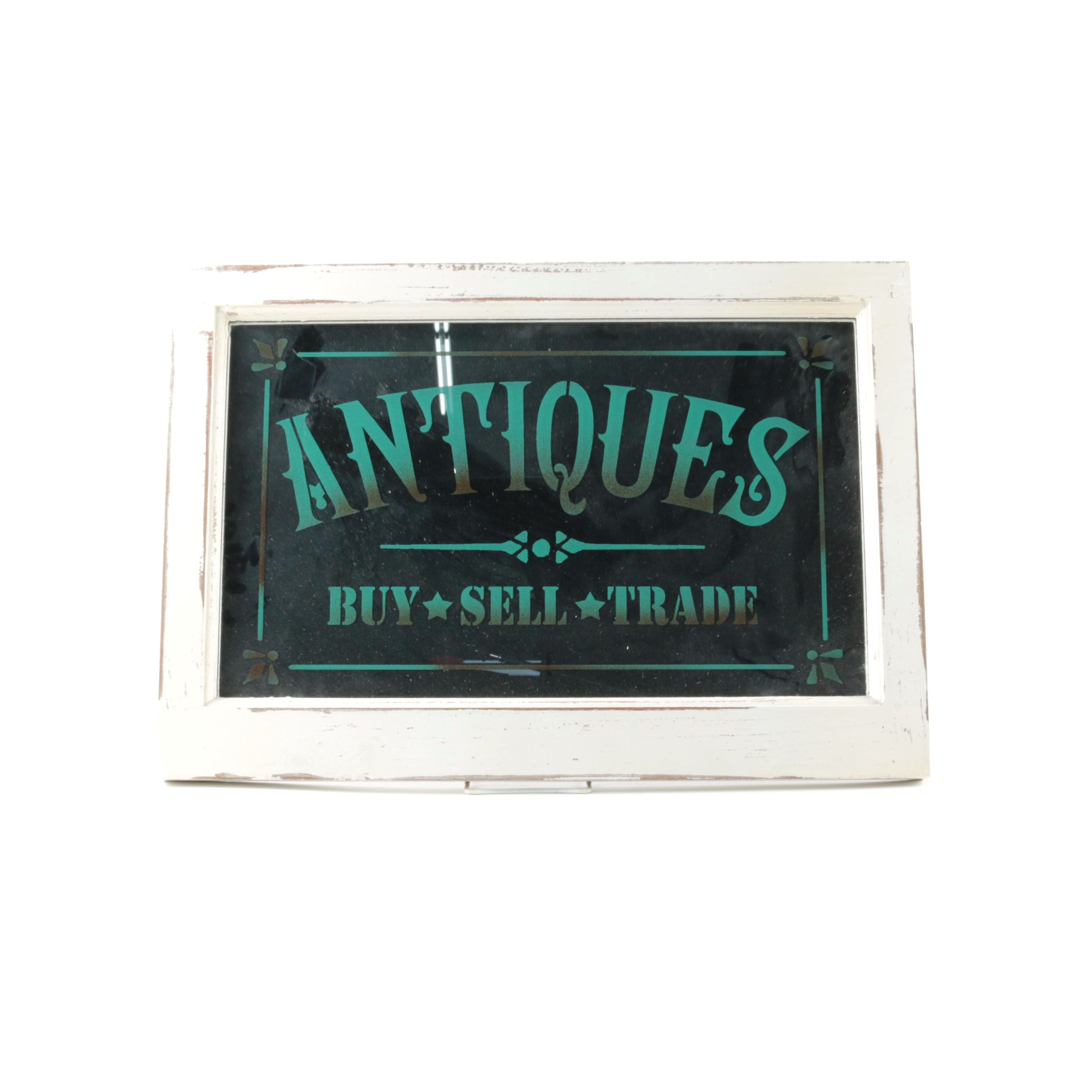 Antiques Mirrored Sign