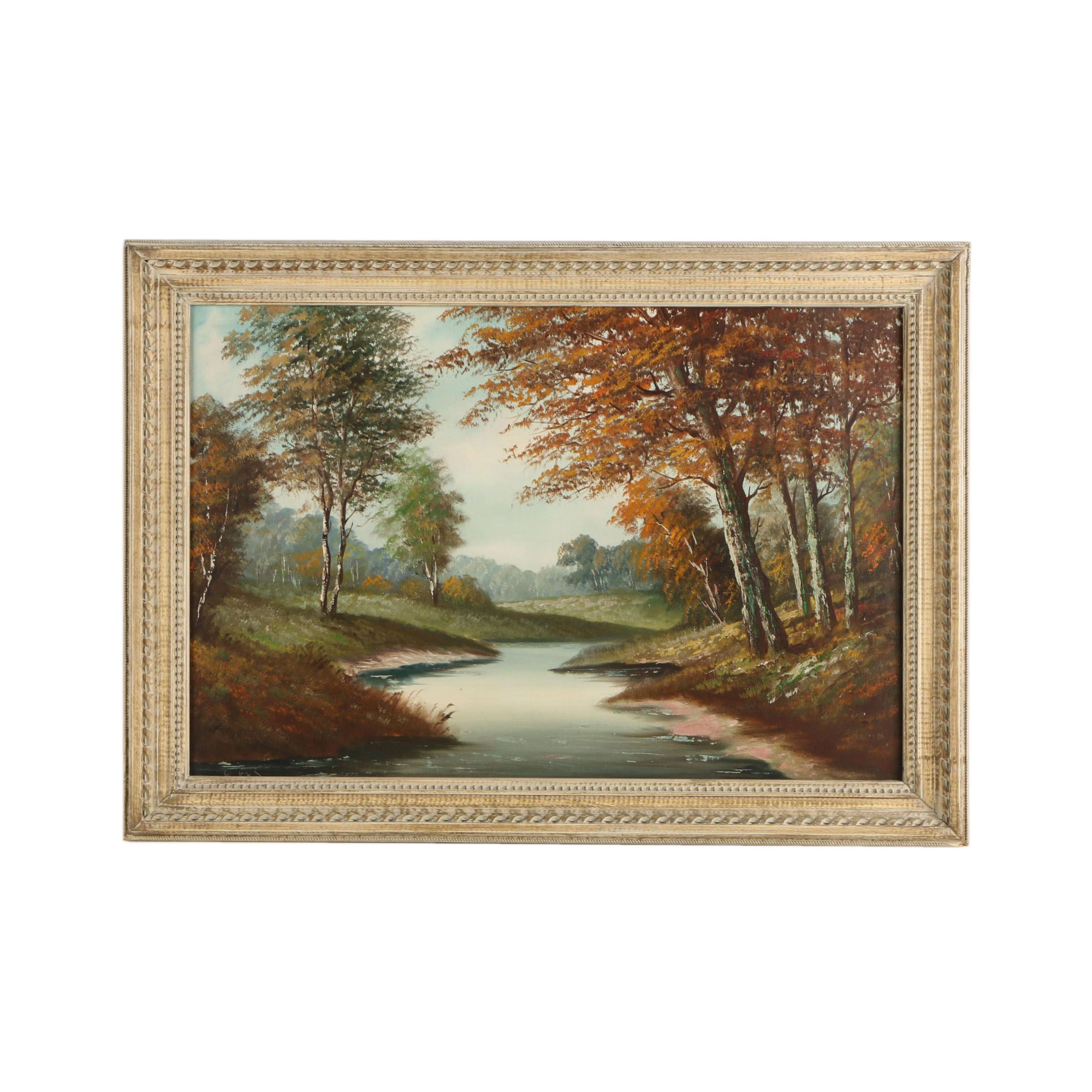 W. Kas Oil Painting of Wooded Scene