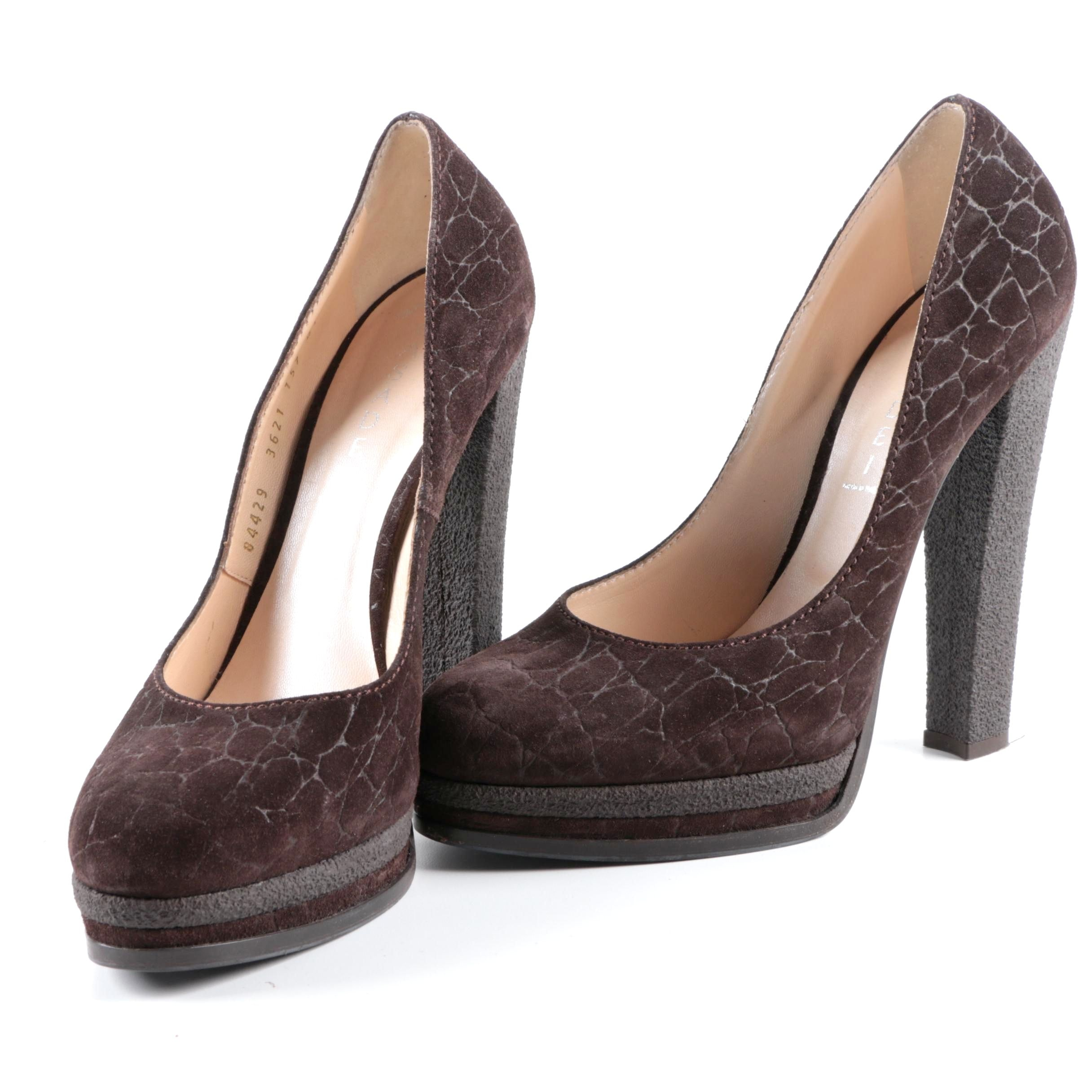 Casadei Brown Suede Platform Pumps