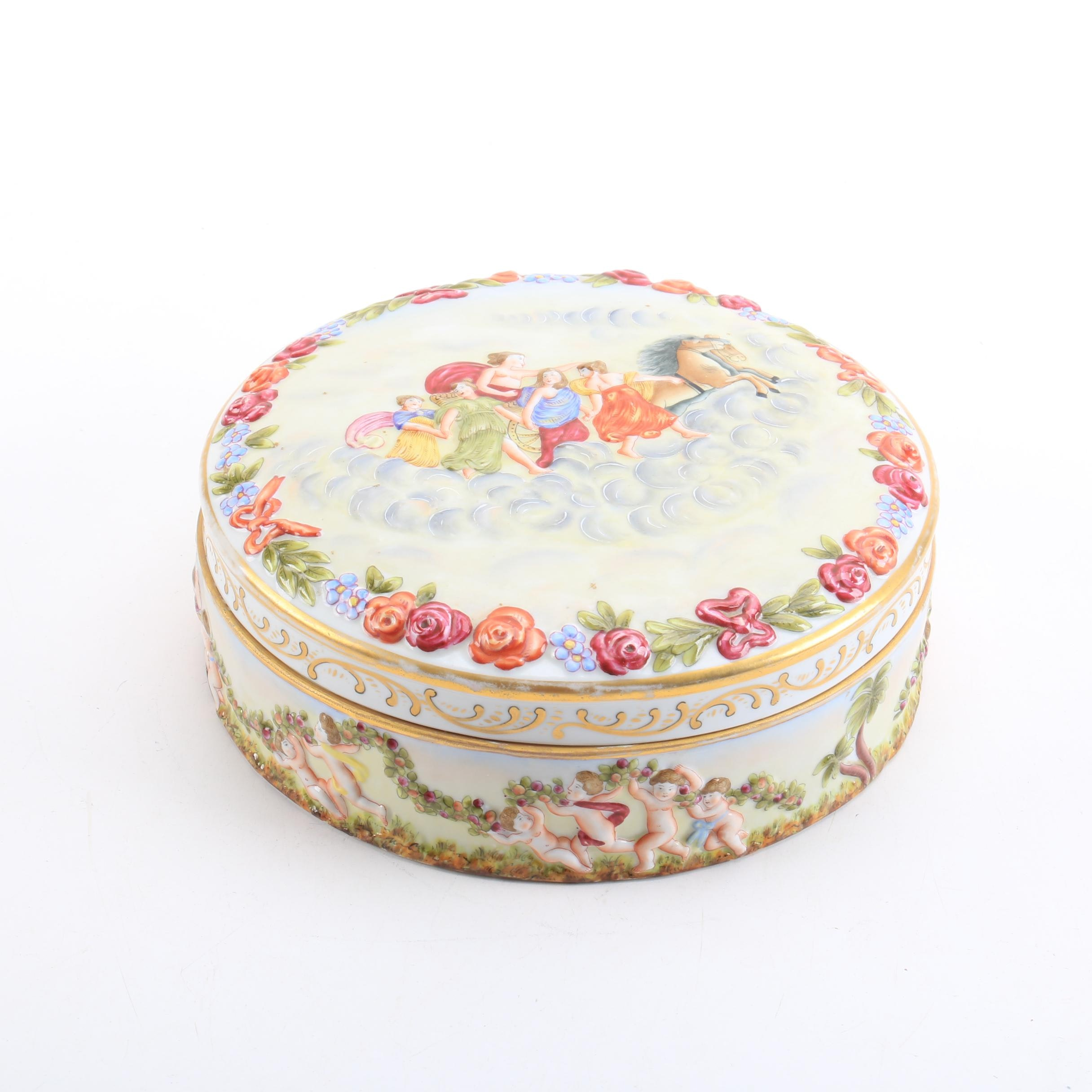 Capodimonte Lidded Ceramic Trinket Dish