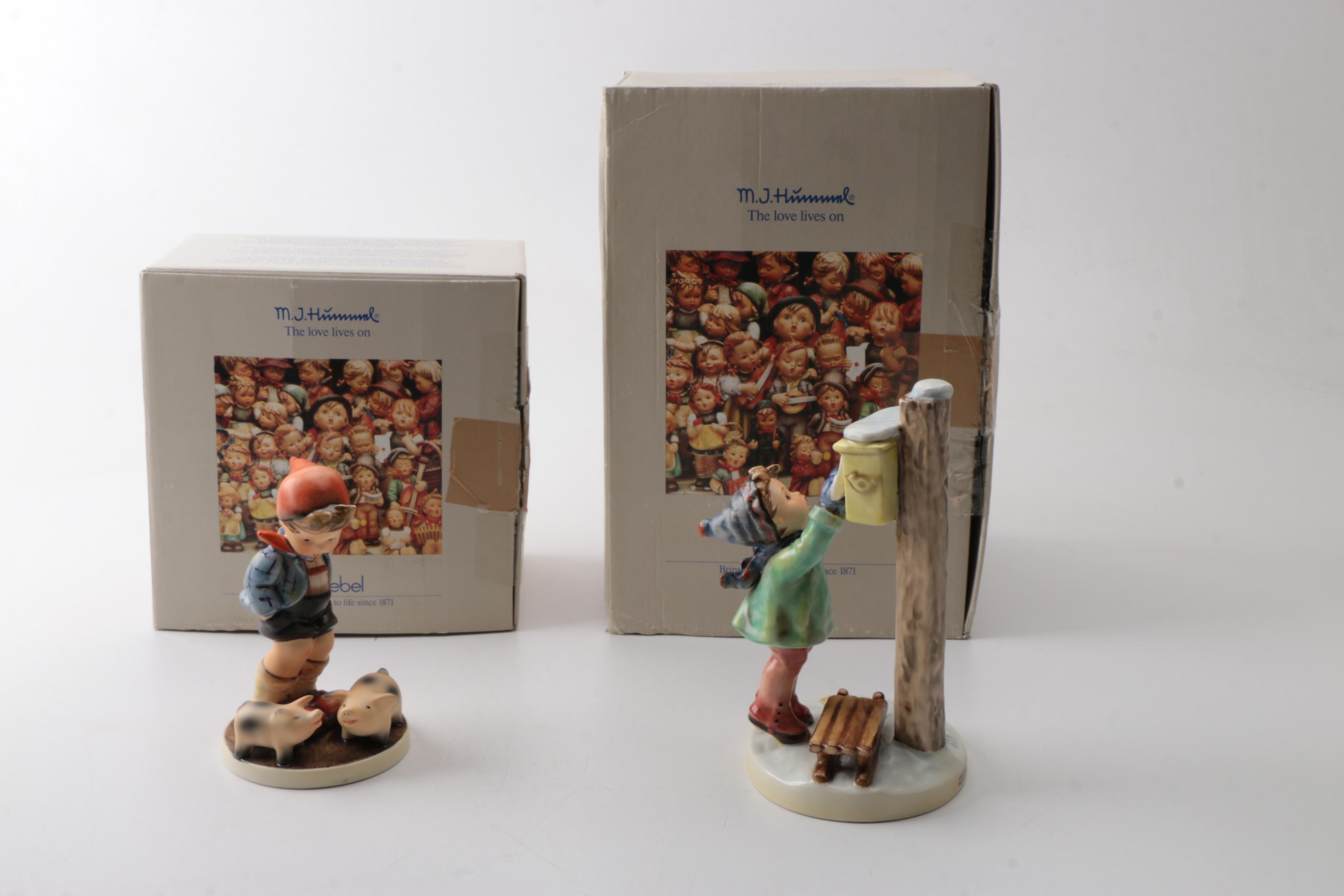 "Pair of Goebel Hummel Figurines Featuring ""Farm Boy"""