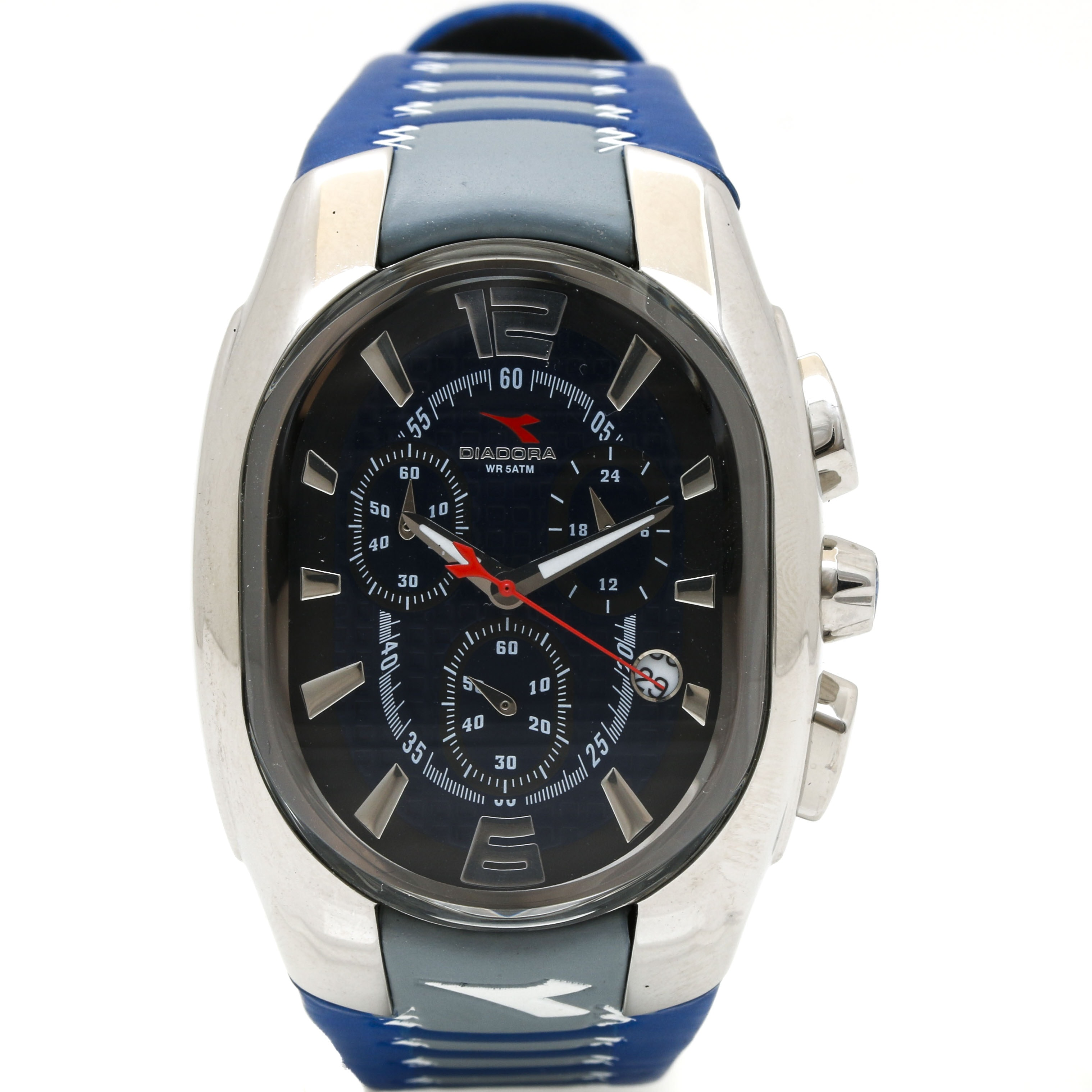 Diadora Stainless Steel and Rubber Blue Wristwatch