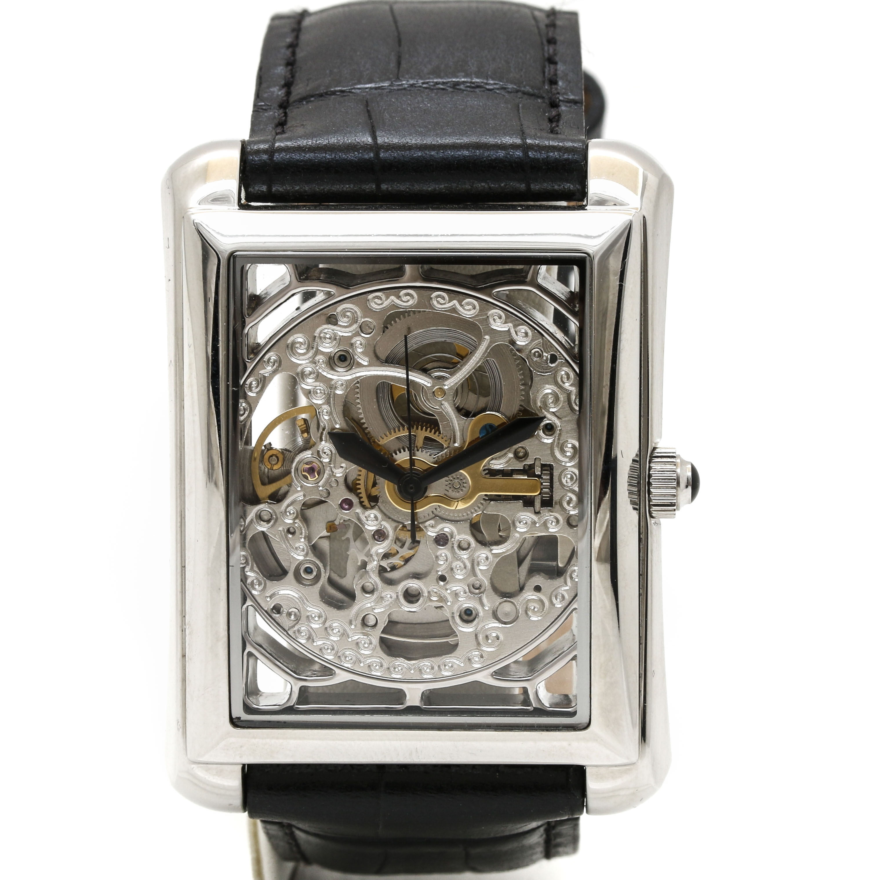 Akribos XXIV Stainless Steel Skeleton Dial Wristwatch