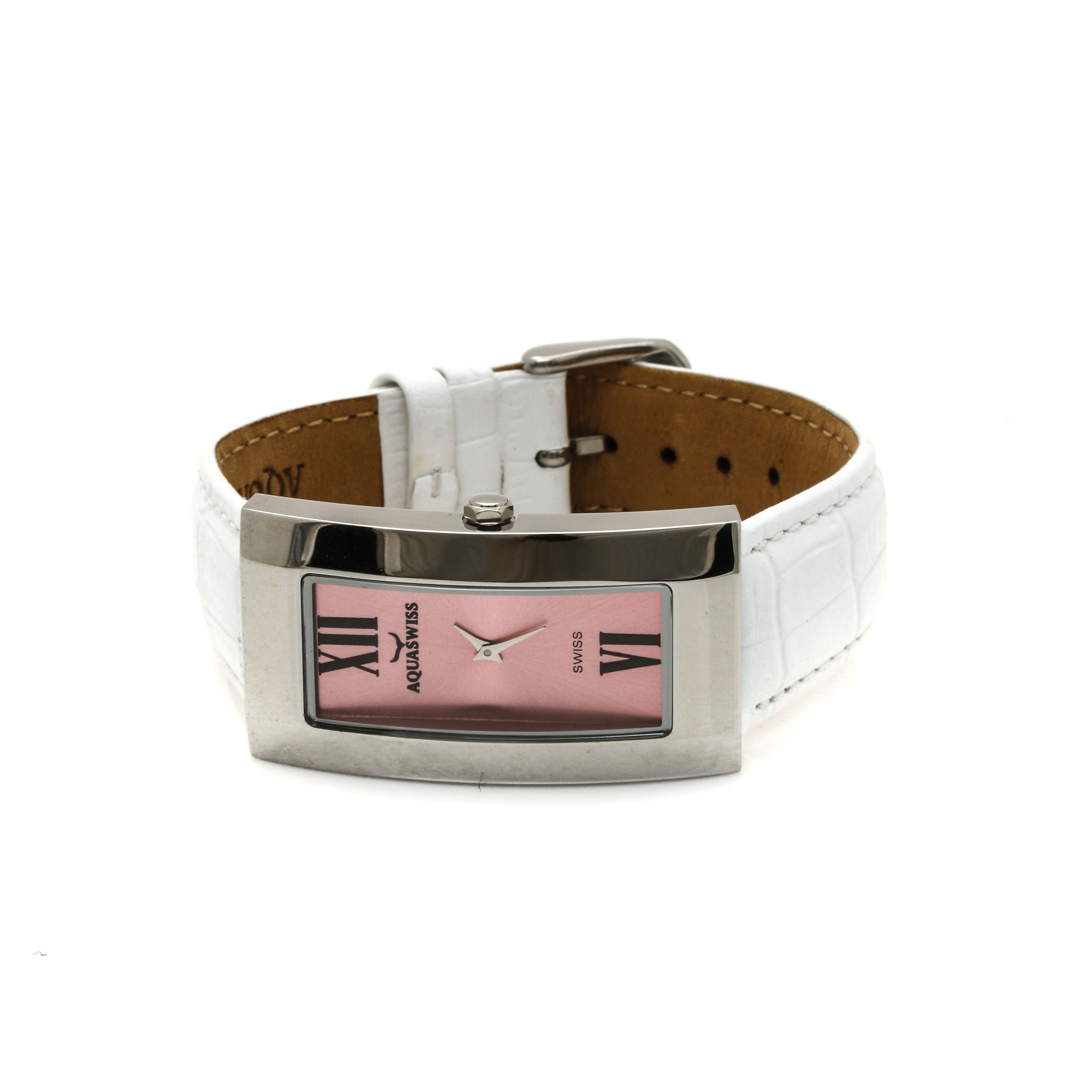 Aquaswiss Stainless Steel Pink Dial and White Leather Strap Watch