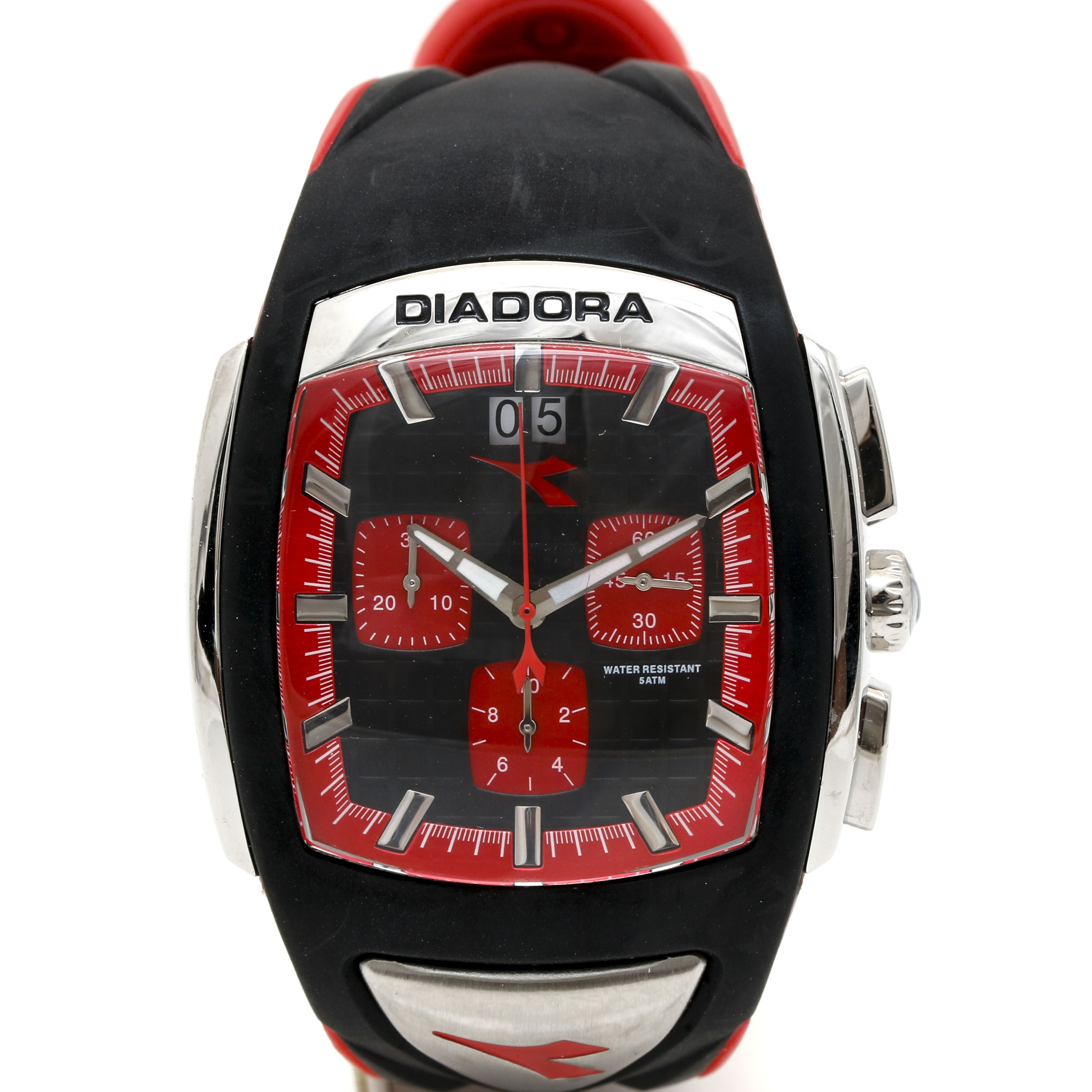 Diadora Stainless Steel and Rubber Red Wristwatch
