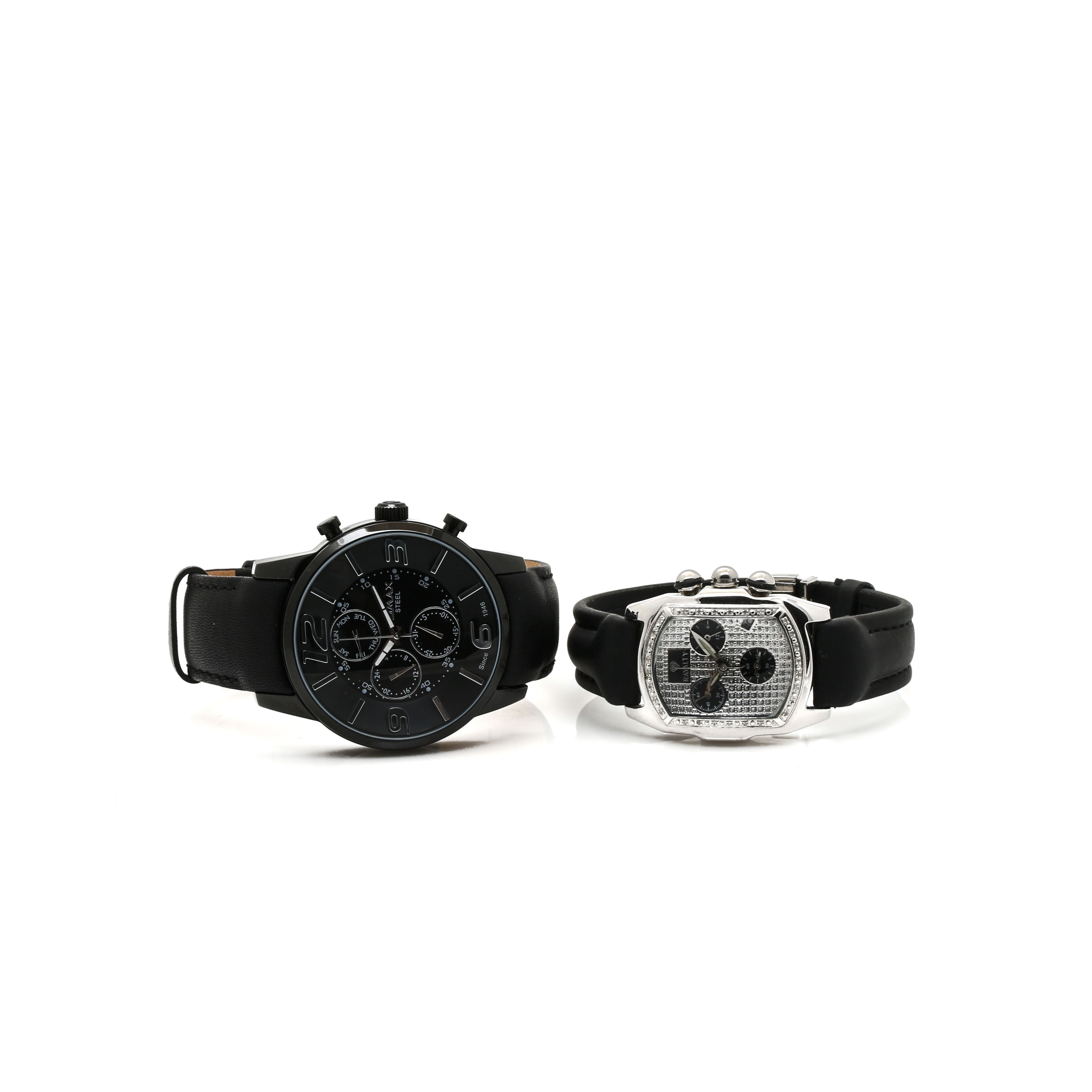 Stainless Steel and Black Leather Analog Wristwatch Selection Including Diamonds