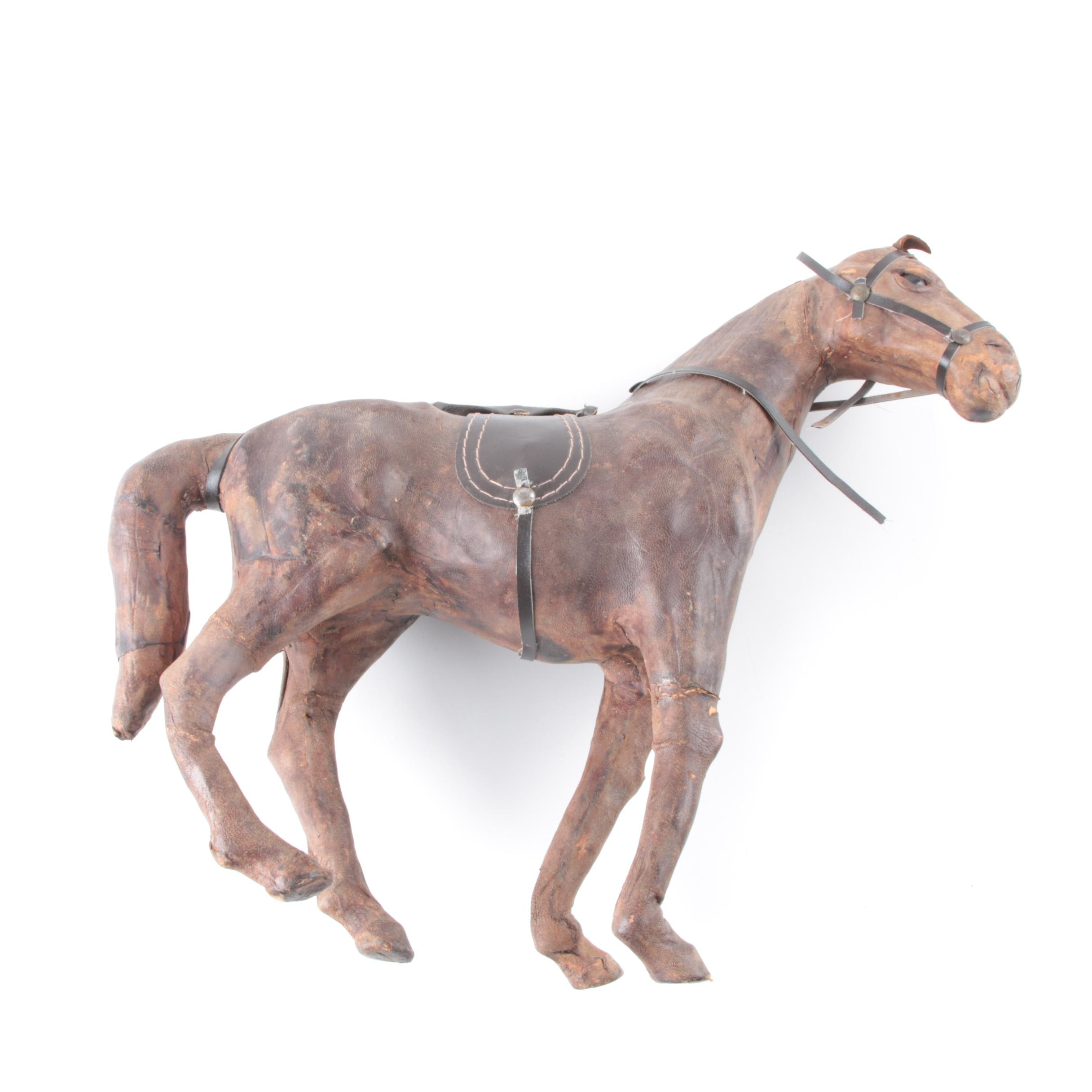 Vintage Leather Horse Toy Figurine