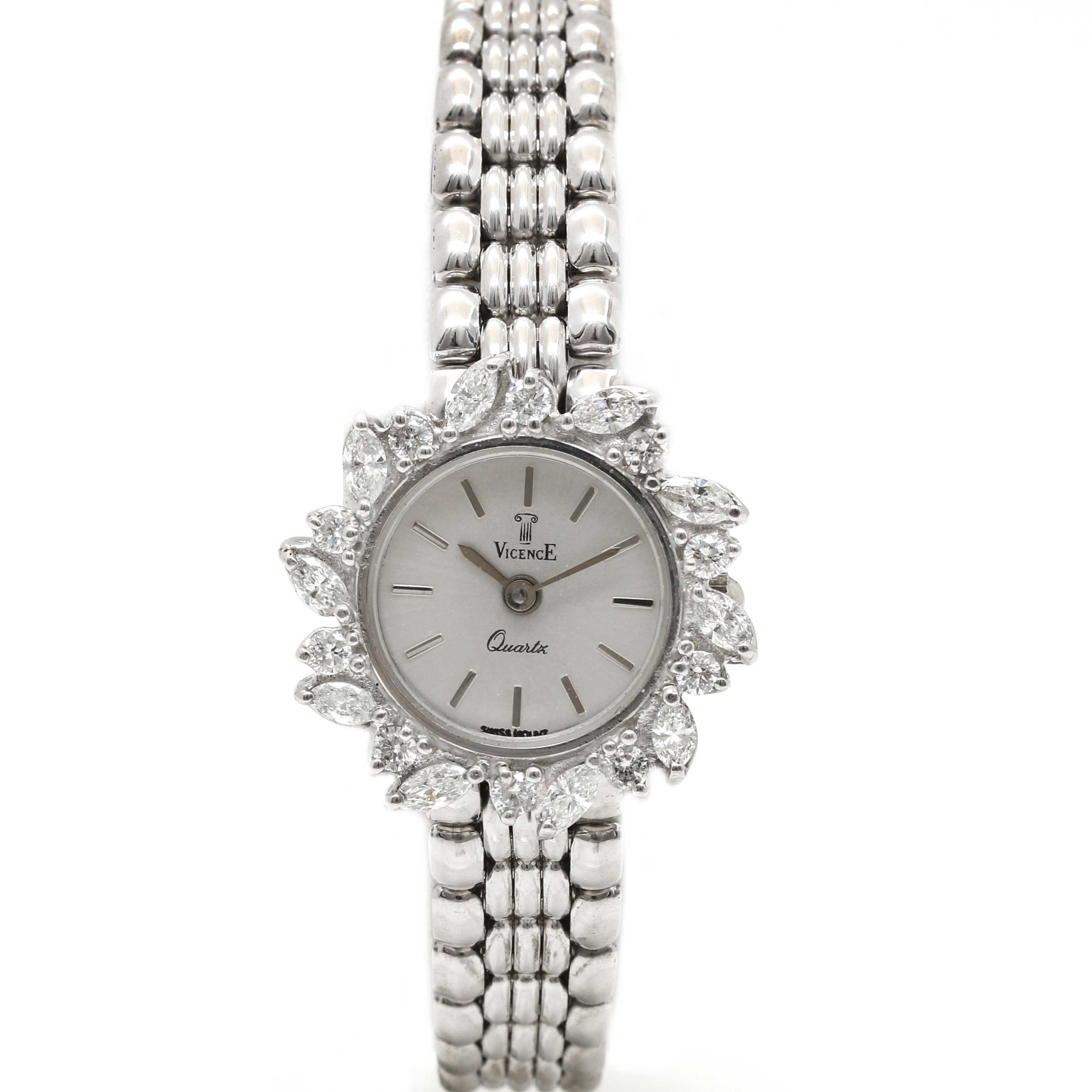 Vicence 14K White Gold 1.33 CTW Diamond Wristwatch