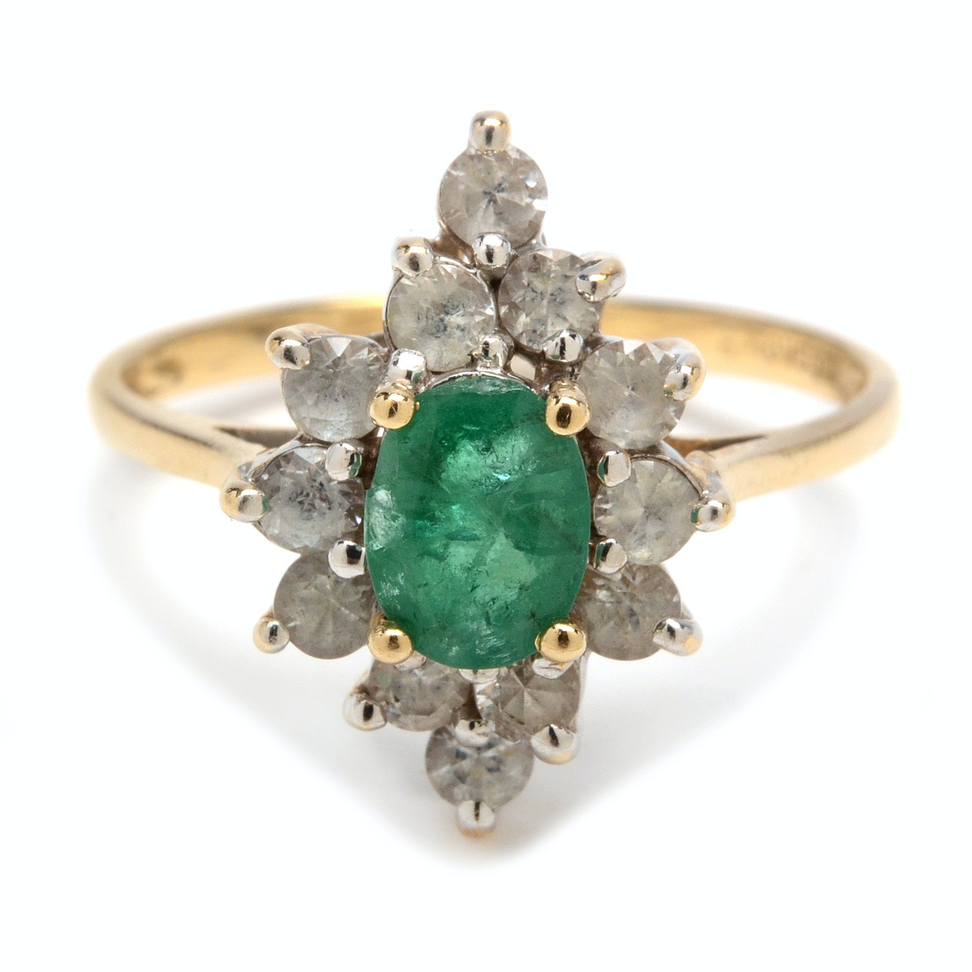 14K Yellow Gold Emerald and White Sapphire Ring