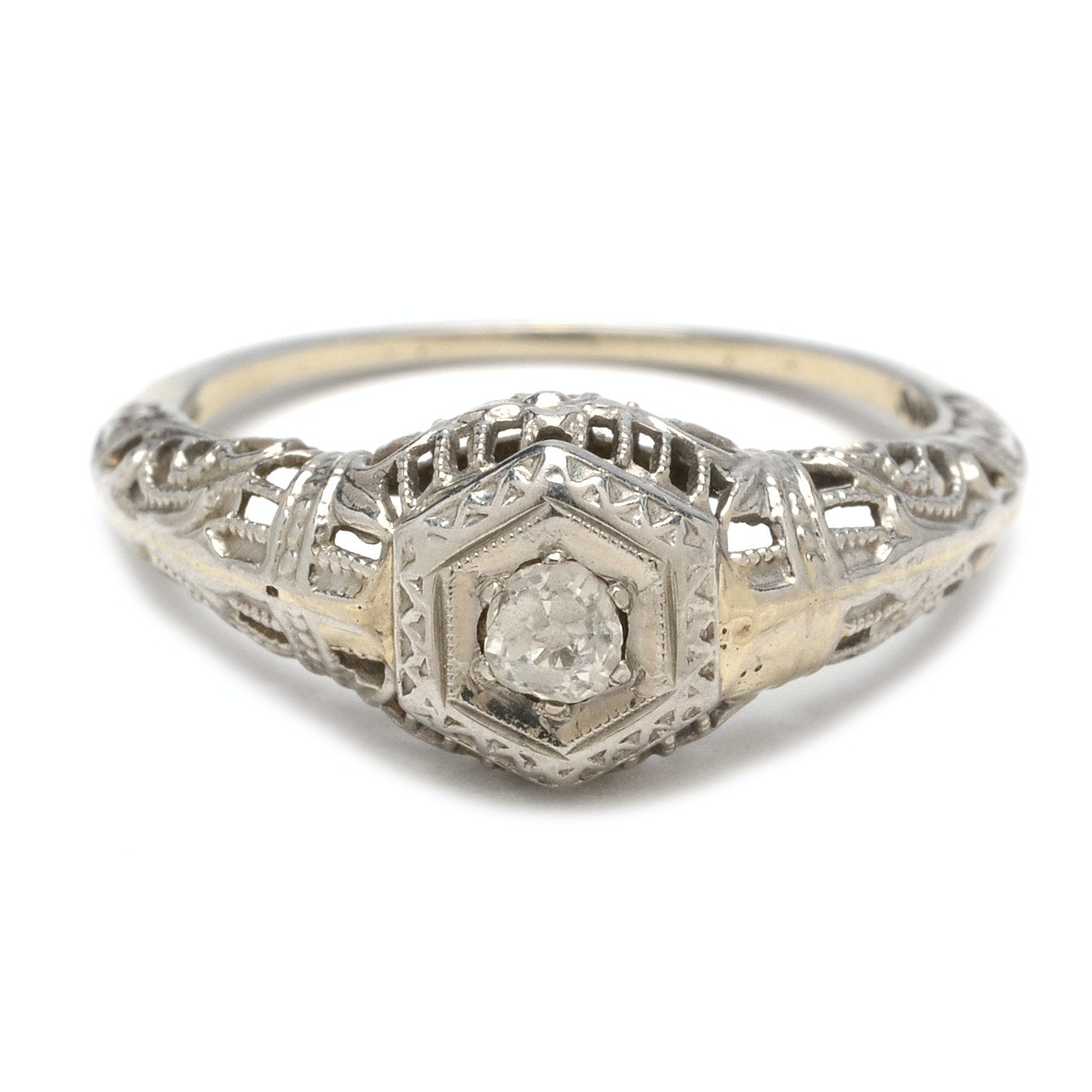 Late Edwardian 18K White Gold European Cut Diamond Ring