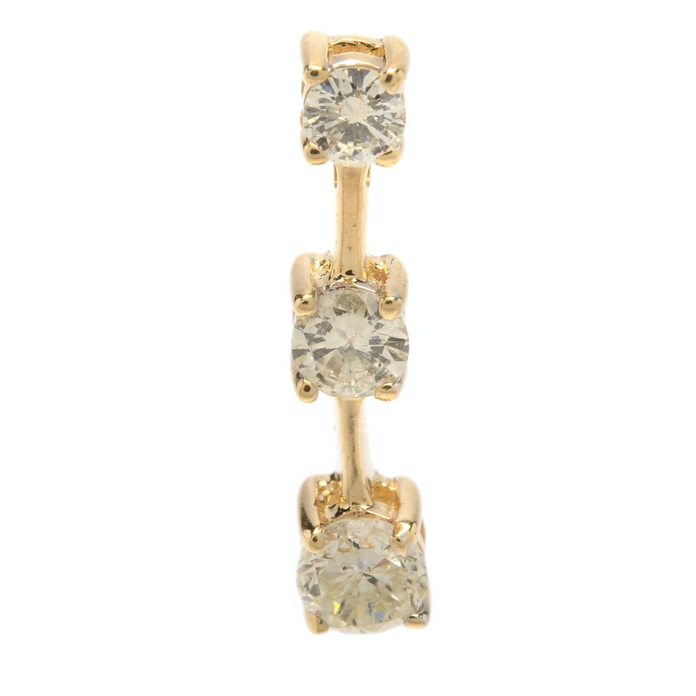14K Yellow Gold Three Diamond Drop Pendant
