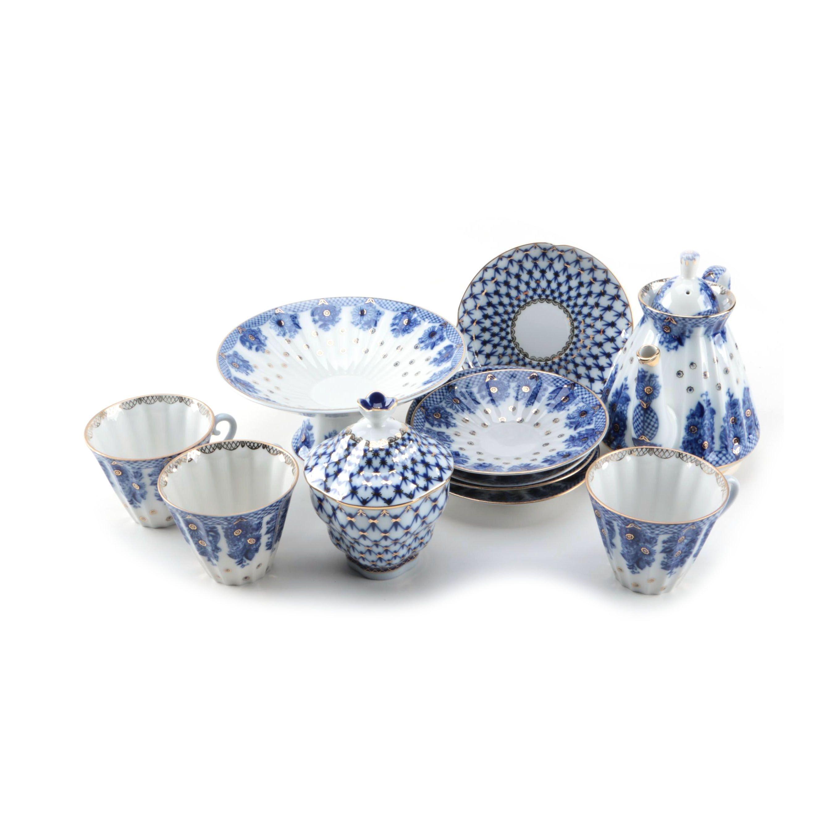 "Lomonosov ""Cobalt Net"" and ""Blue Rhapsody"" Russian Porcelain Tableware"