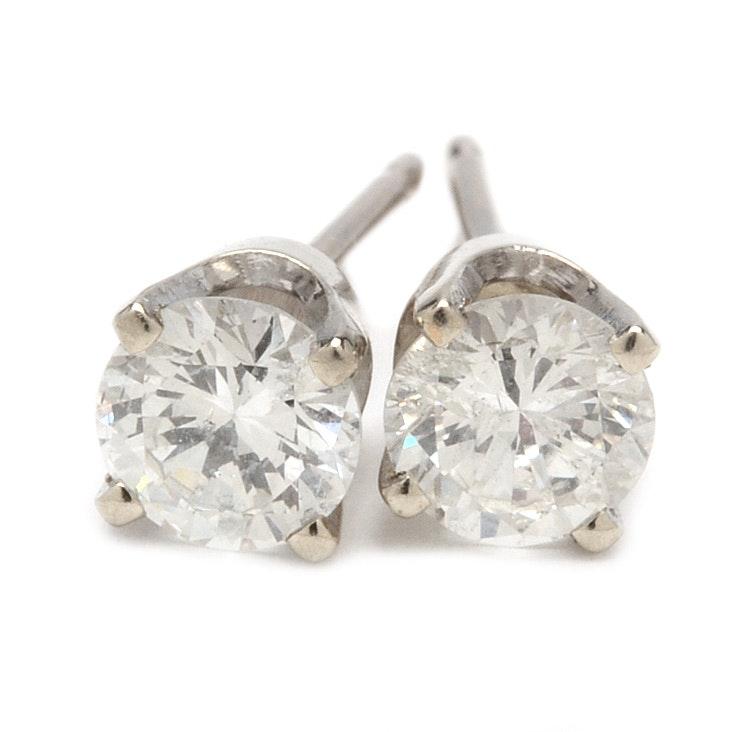 14K White Gold Brilliant Cut Diamond Stud Earrings