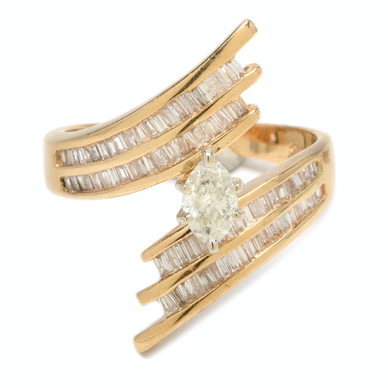 14K Yellow Gold Marquise Cut Diamond Bypass Ring