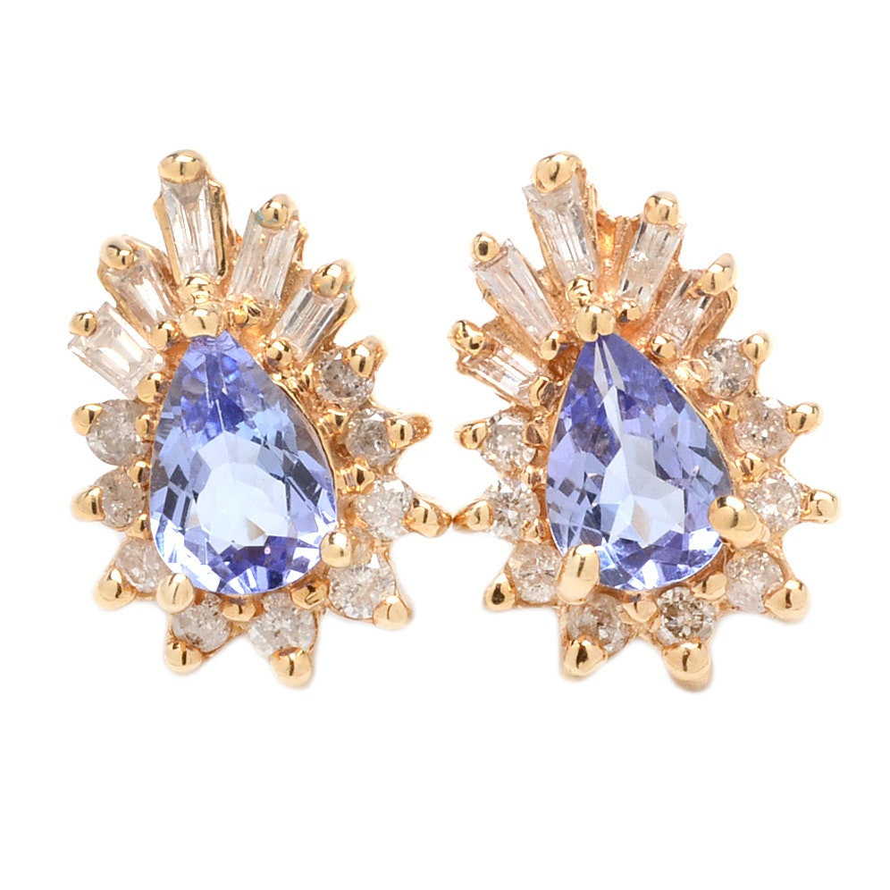 14K Yellow Gold Pear Tanzanite and Diamond Halo Earrings