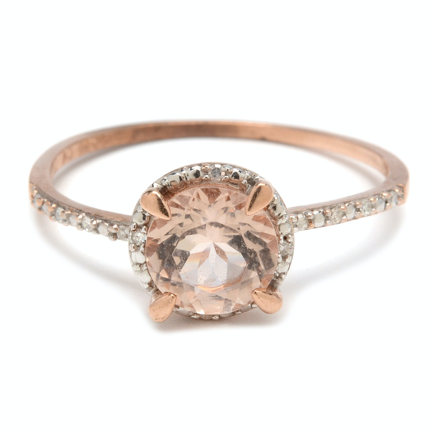 10K Rose Gold Morganite and Diamond Halo Ring