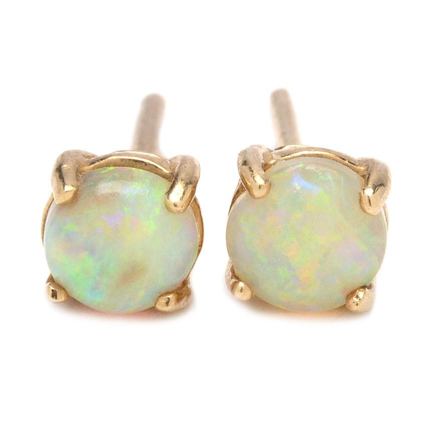 10K Yellow Gold Opal Cabochon Earrings