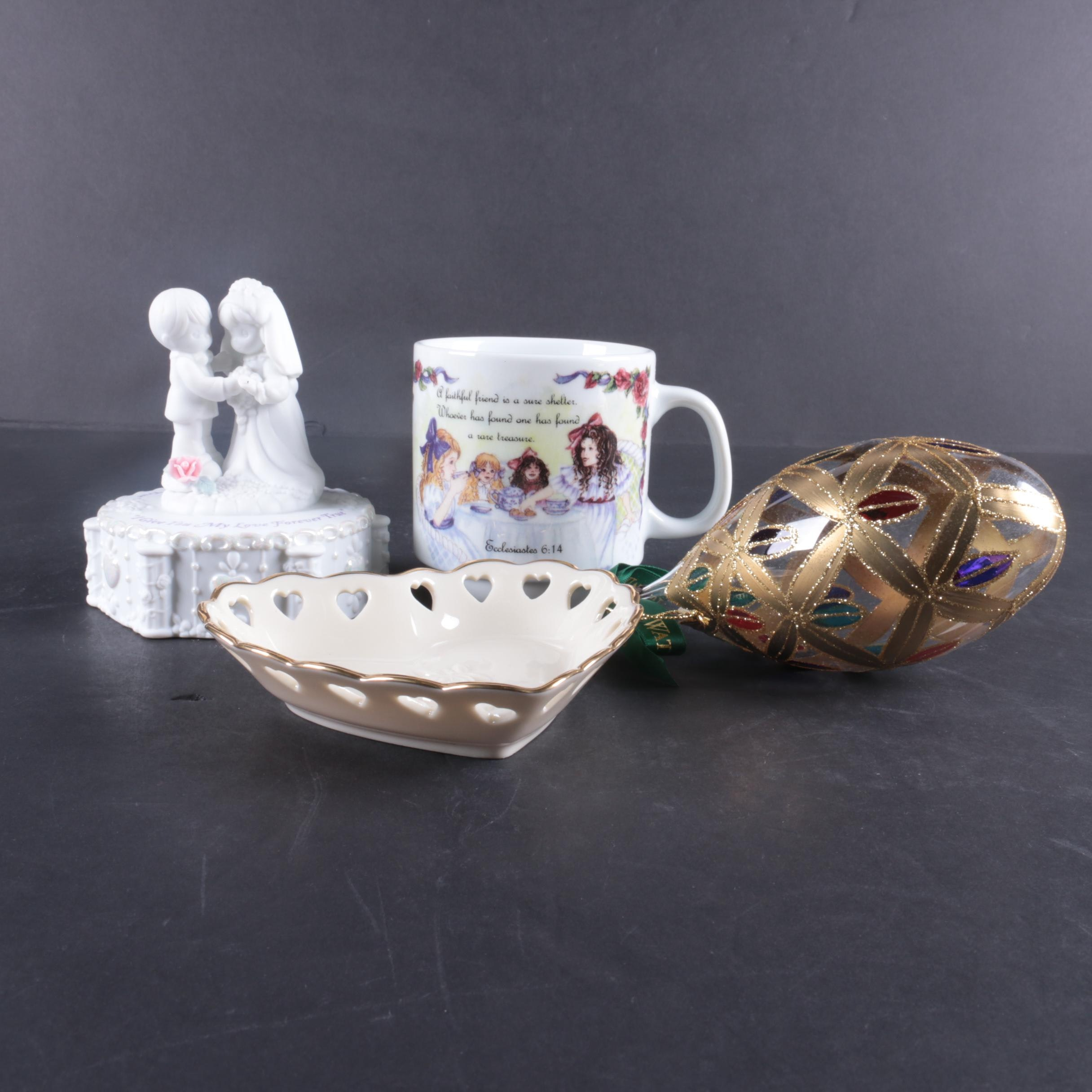 """Collectibles Featuring Waterford """"Holiday Heirloom"""" and Precious Moments"""