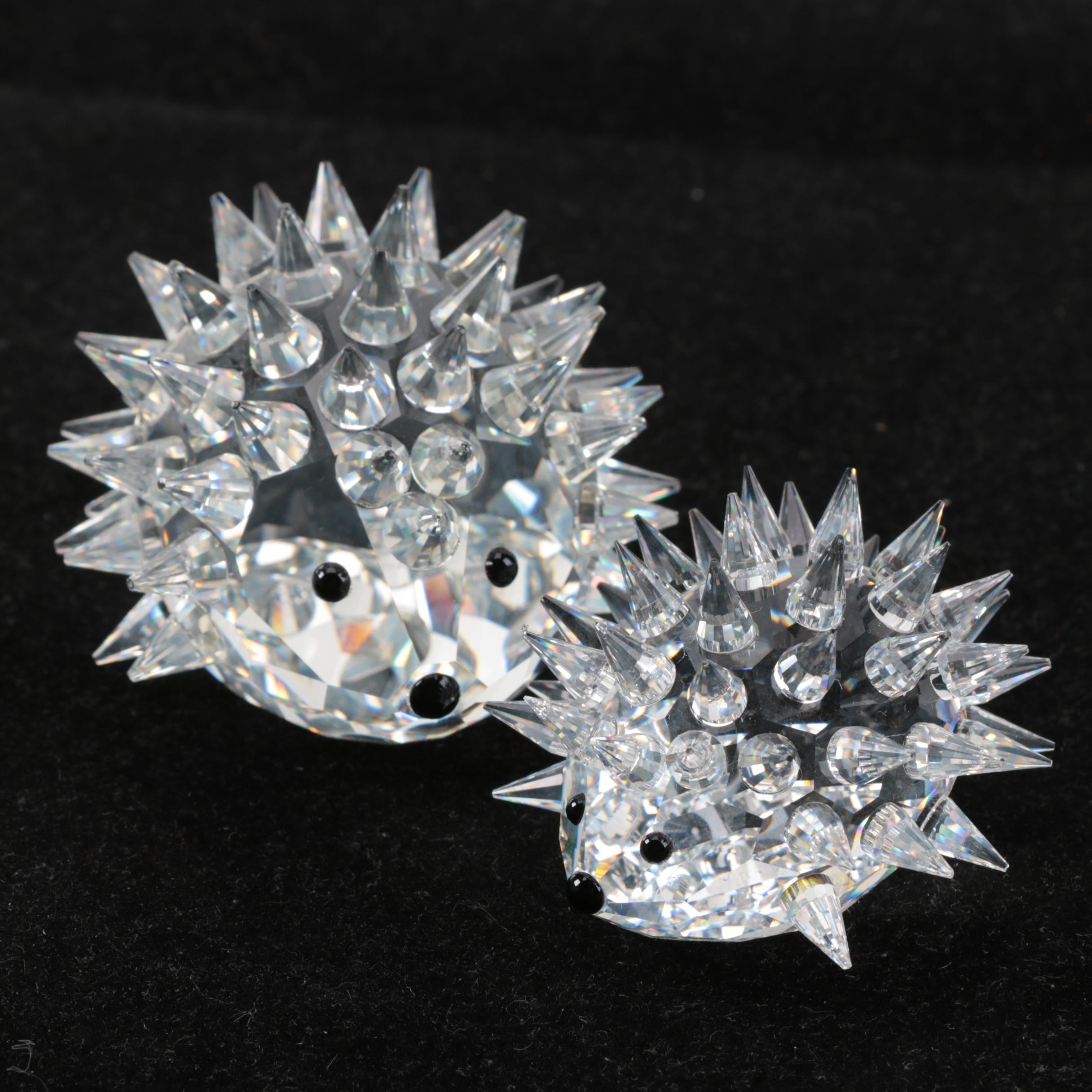 Pair of Swarovski Crystal Hedgehogs