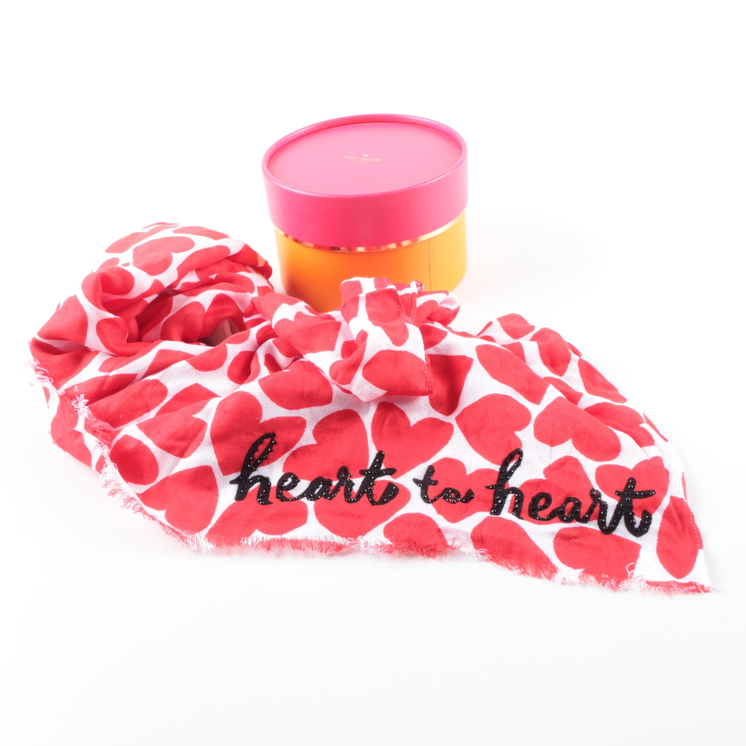 Kate Spade Heart to Heart Twill Scarf
