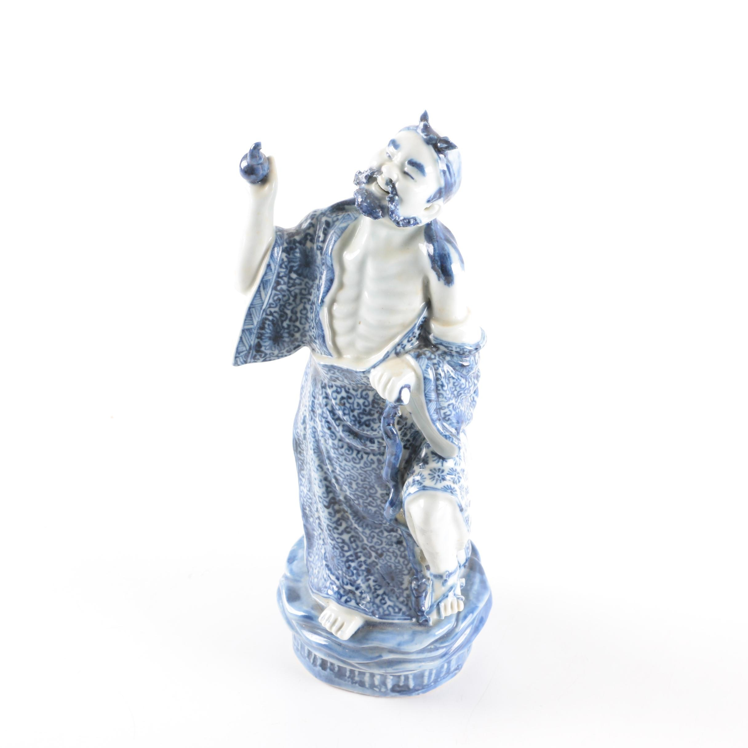 Chinese Blue and White Figurine of a Man