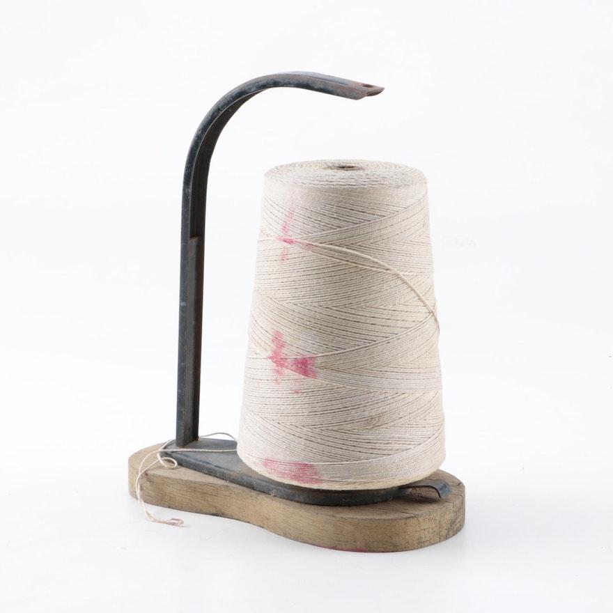 vintage rustic spool of white yarn ebth