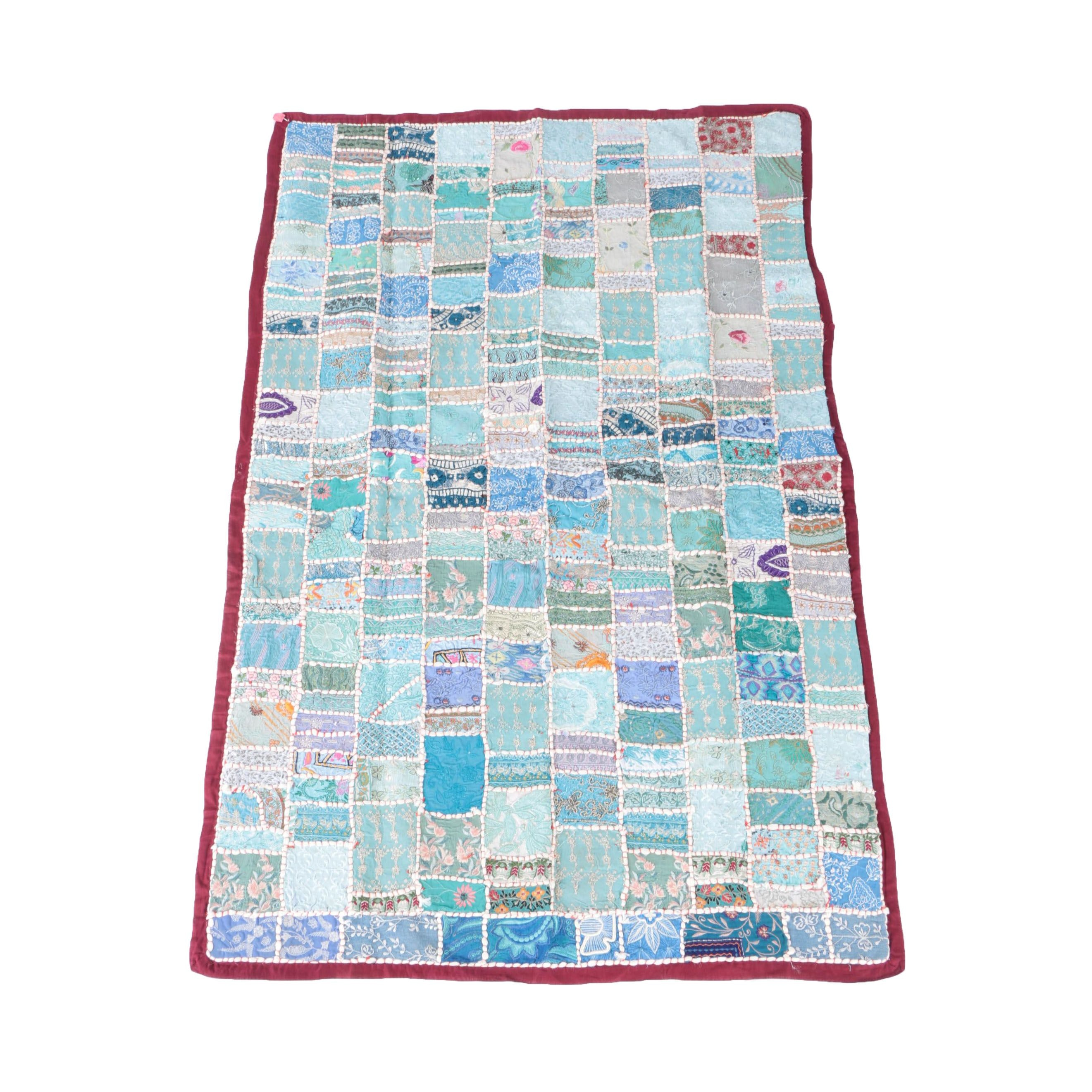 Hand Sewn Indian Pieced and Embroidered Quilt