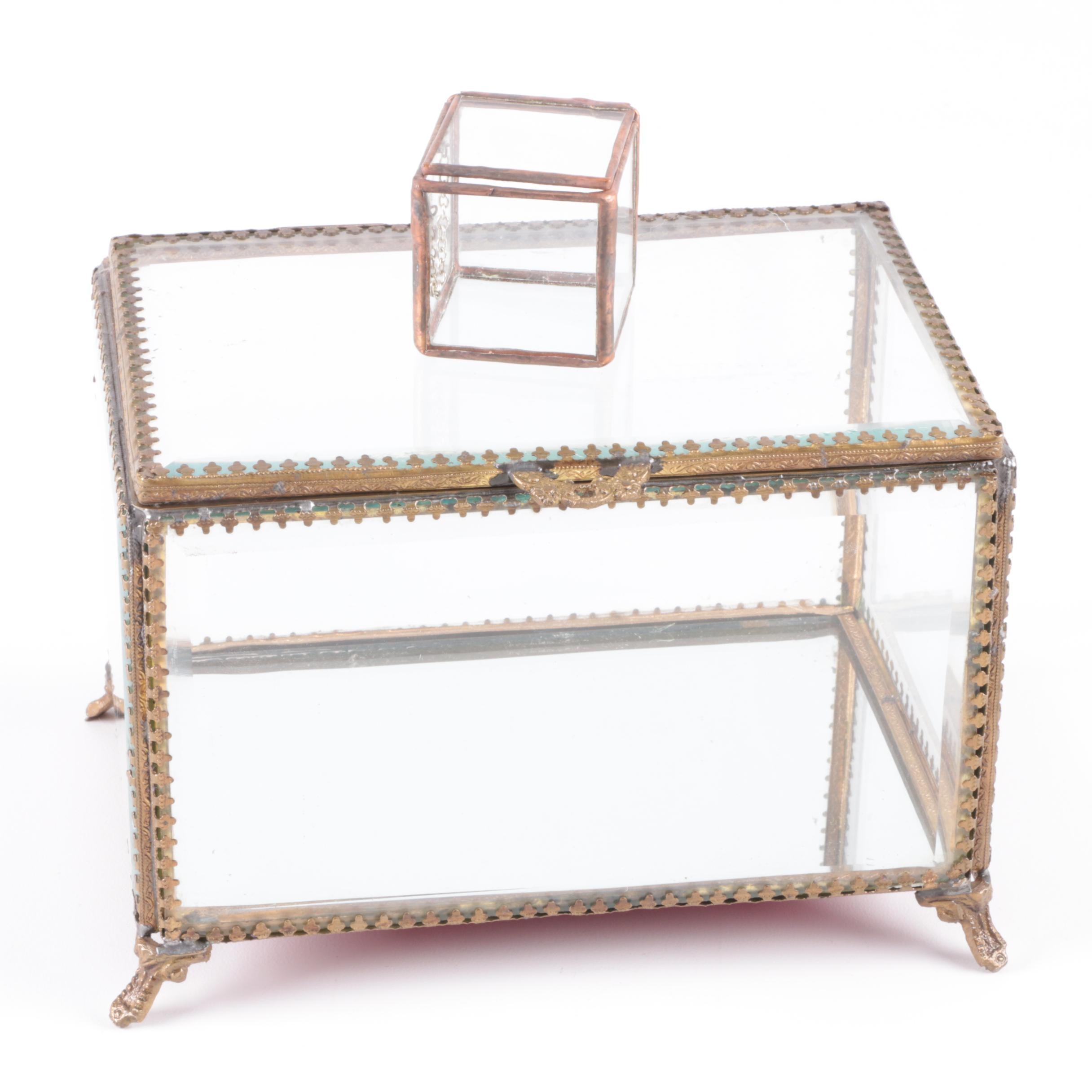 Vintage Glass Trinket Boxes