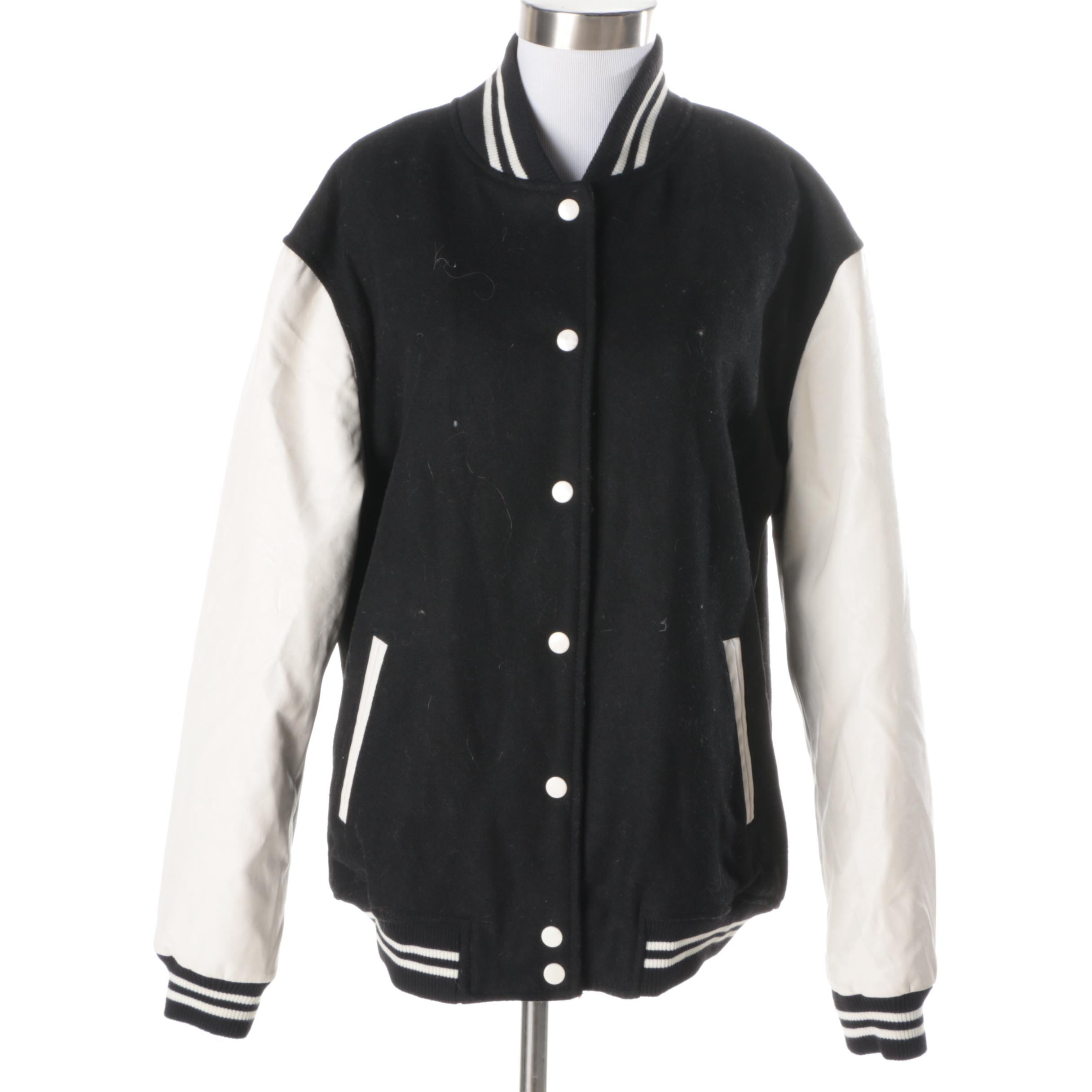 Women's Forever 21 Varsity Jacket with Pleather Sleeves