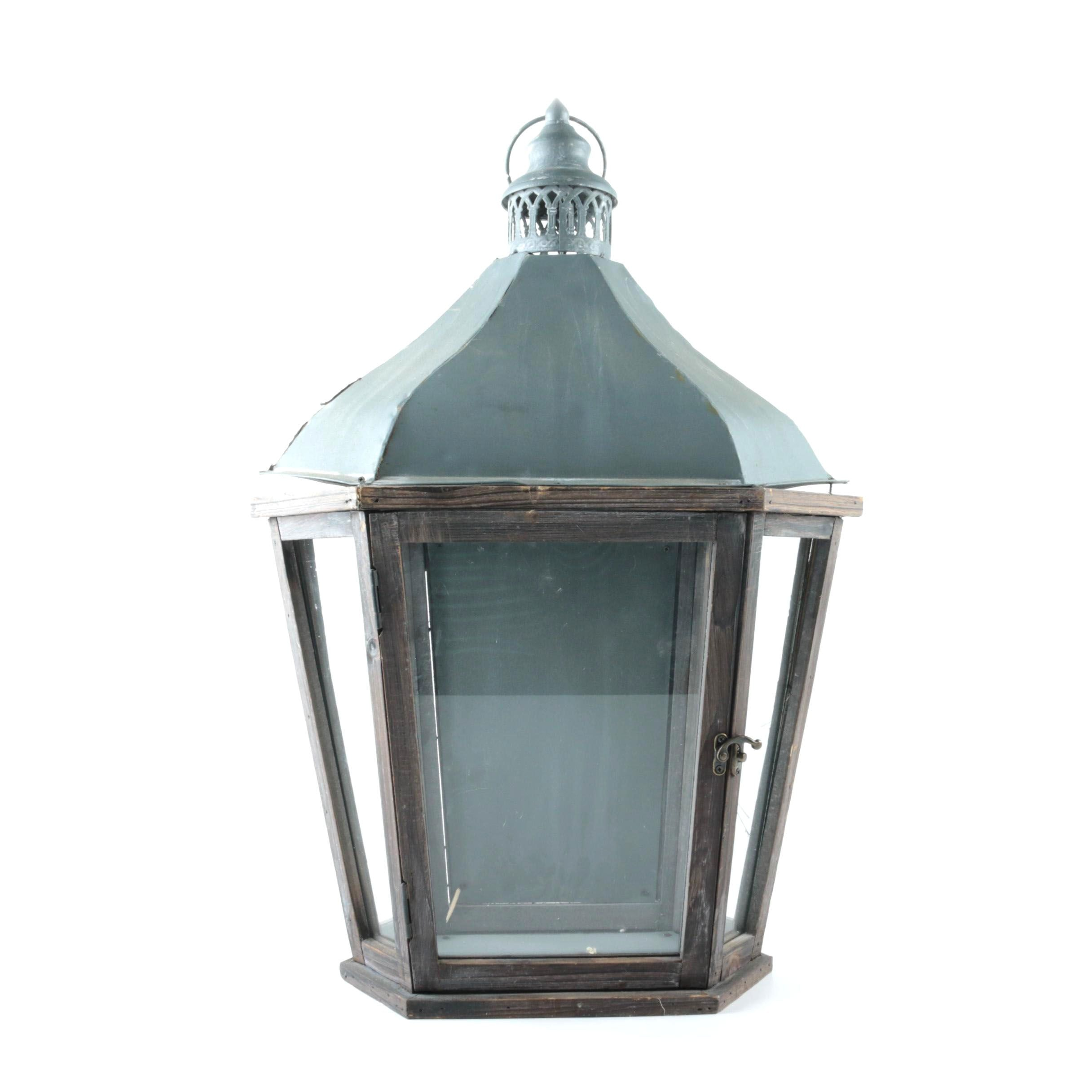Wood and Metal Lantern with Glass Panels