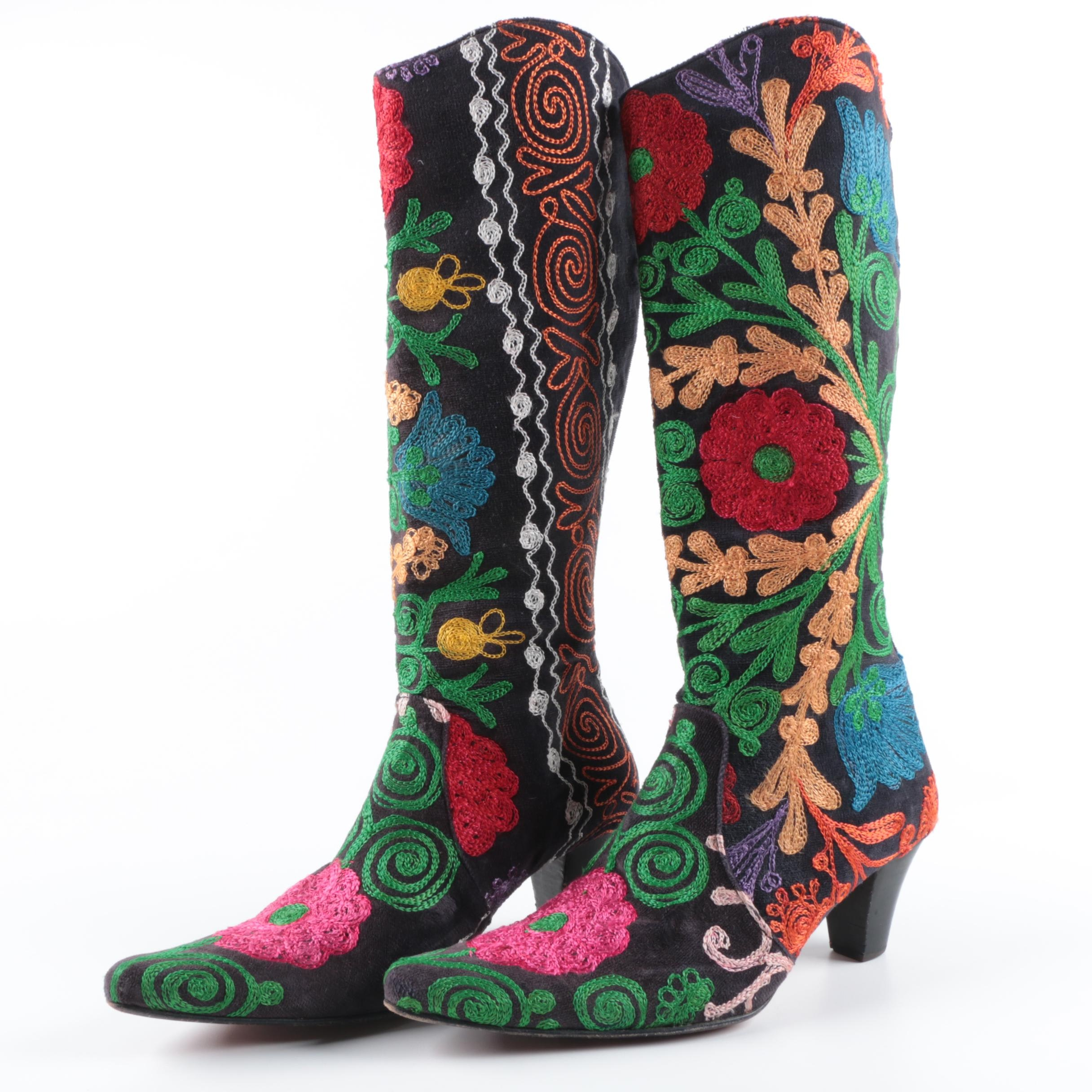 Erkan Demir for Artemis Embroidered Velvet Boots