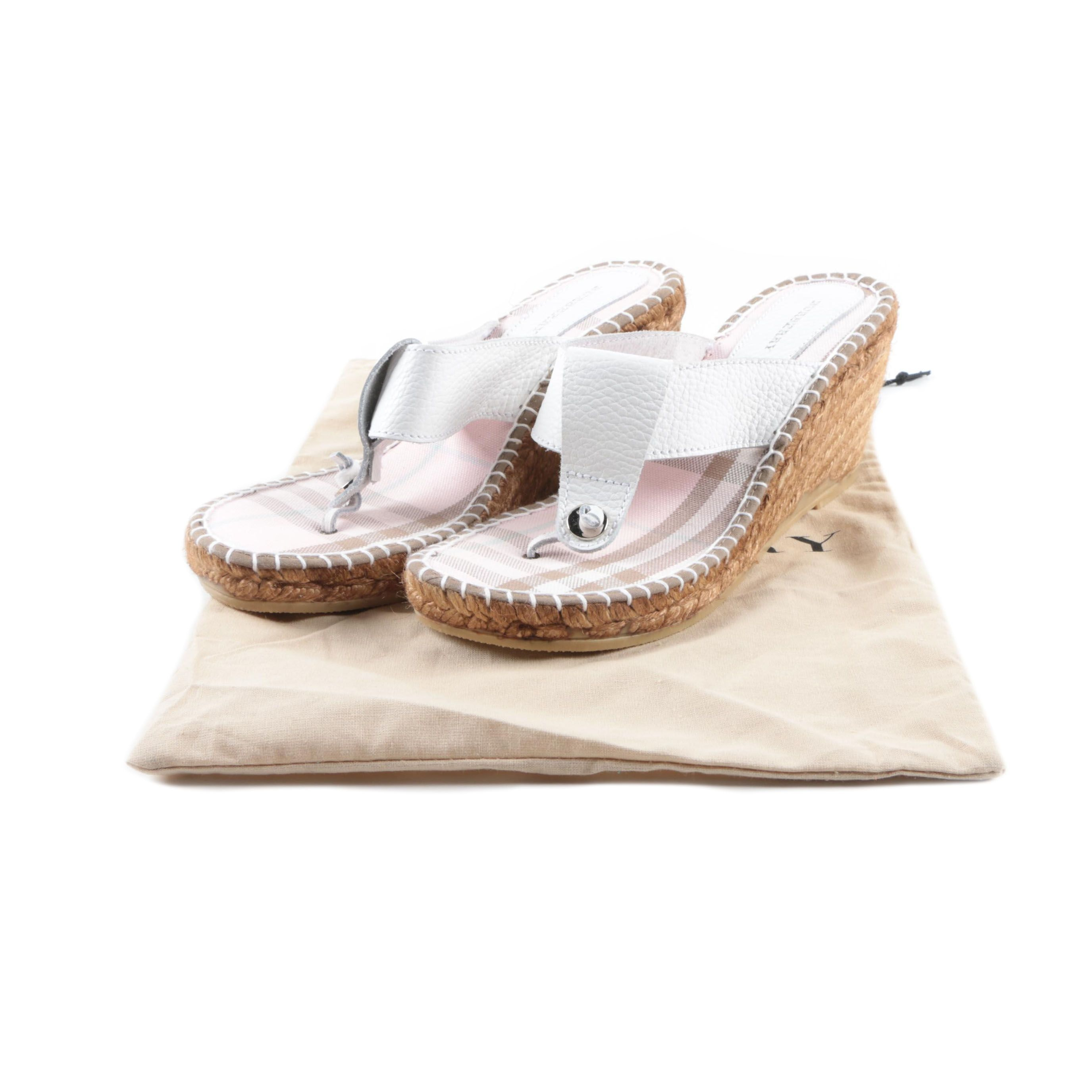 Burberry Espadrille Wedge Sandals