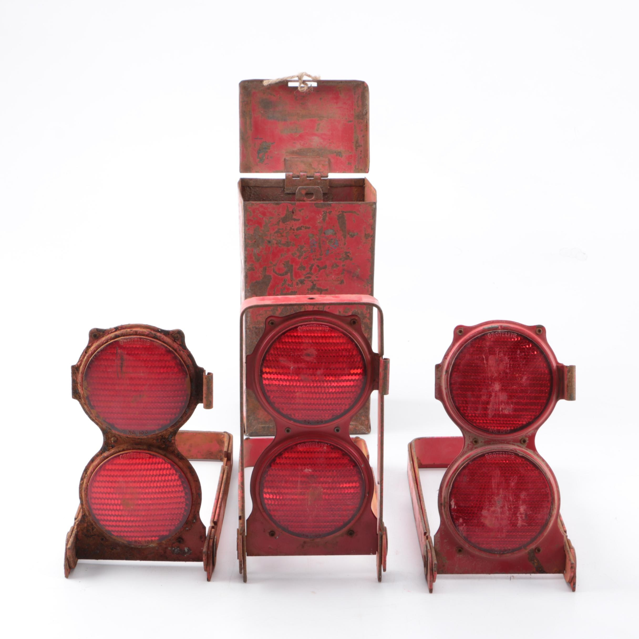 Vintage Red Hazard Reflectors