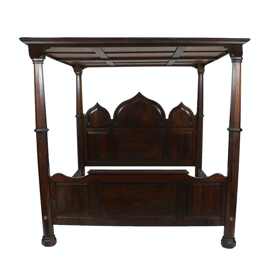 gothic oak tester bed frame ebth. Black Bedroom Furniture Sets. Home Design Ideas