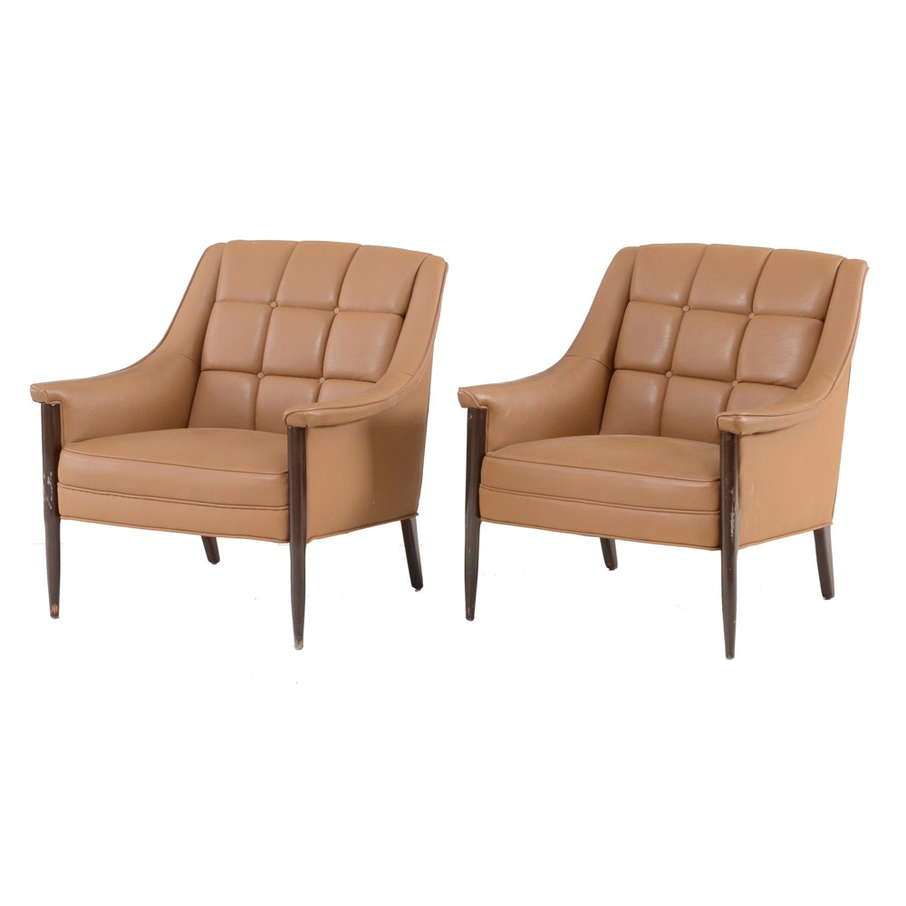 Pair of Mid Century Modern Kroehler Leather Upholstered Chairs
