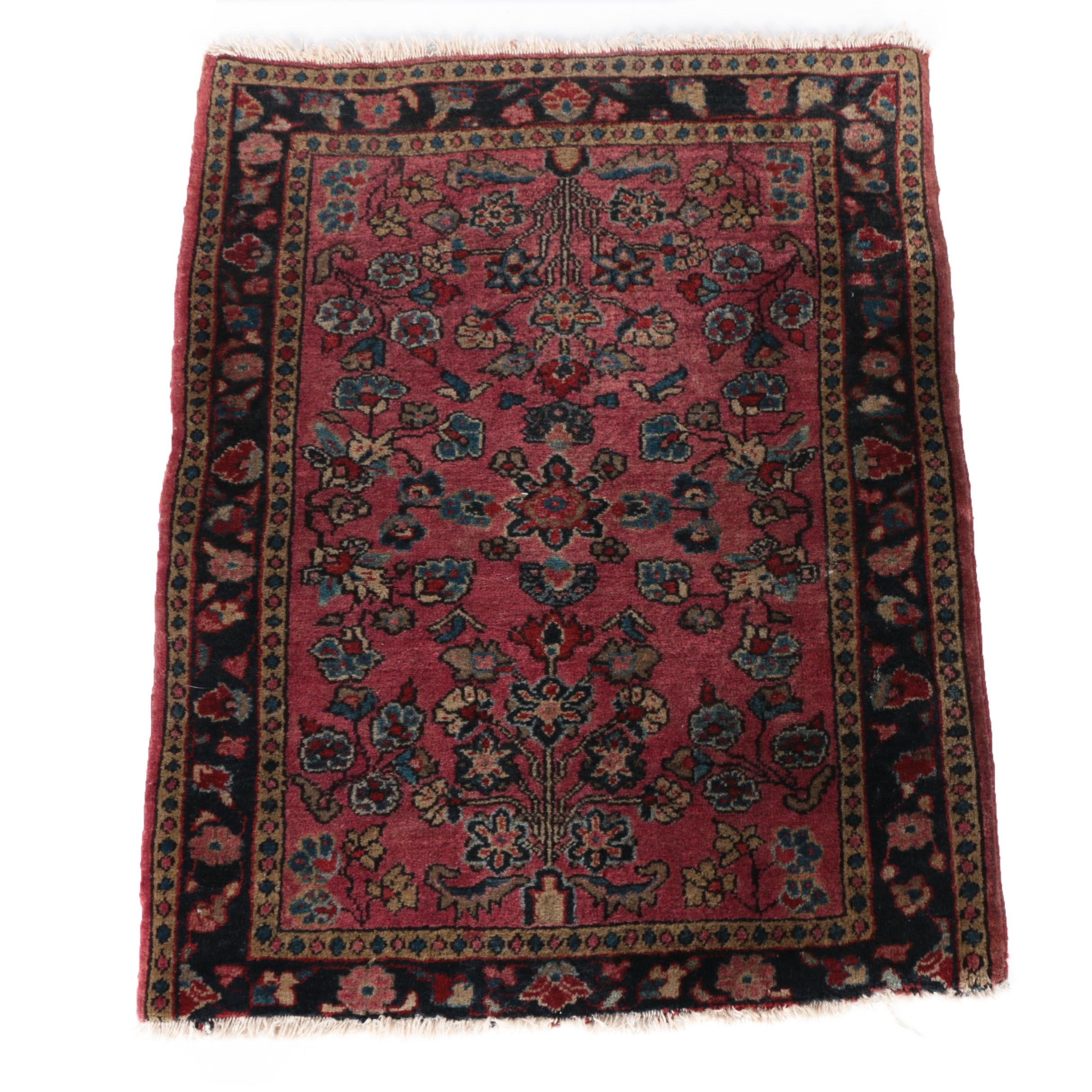 Semi-Antique Hand-Knotted Persian Mehriban Wool Accent Rug