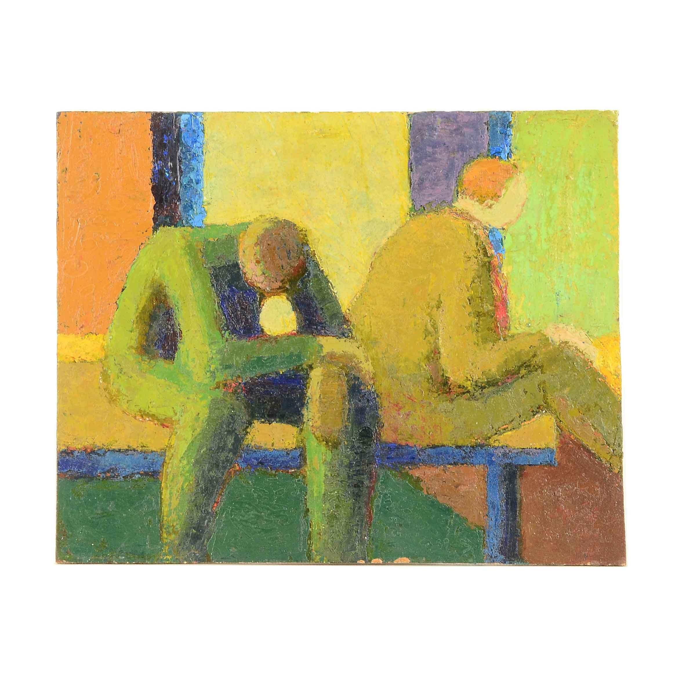 "Edgar Hatten Vintage Oil Painting on Board ""Two Men"""