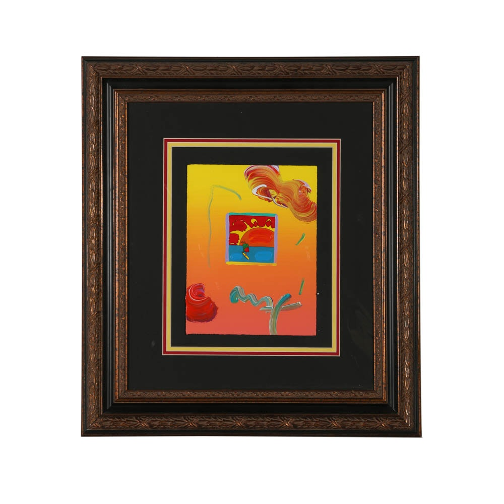 "Peter Max Mixed Media ""Sunrise Sail (Yellow Sienna)"""