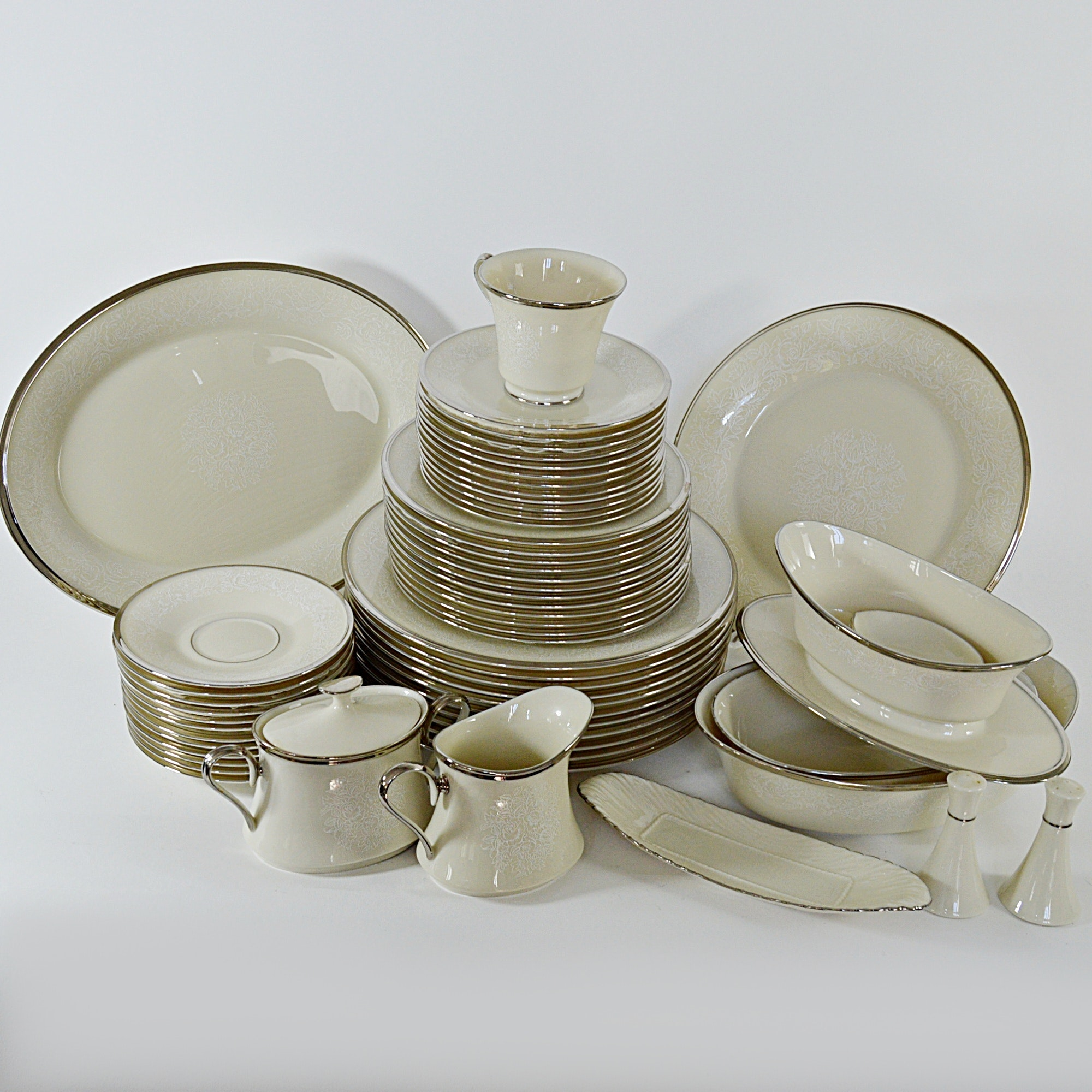 "Set of Lenox ""Moonspun"" Bone China Dinnerware"