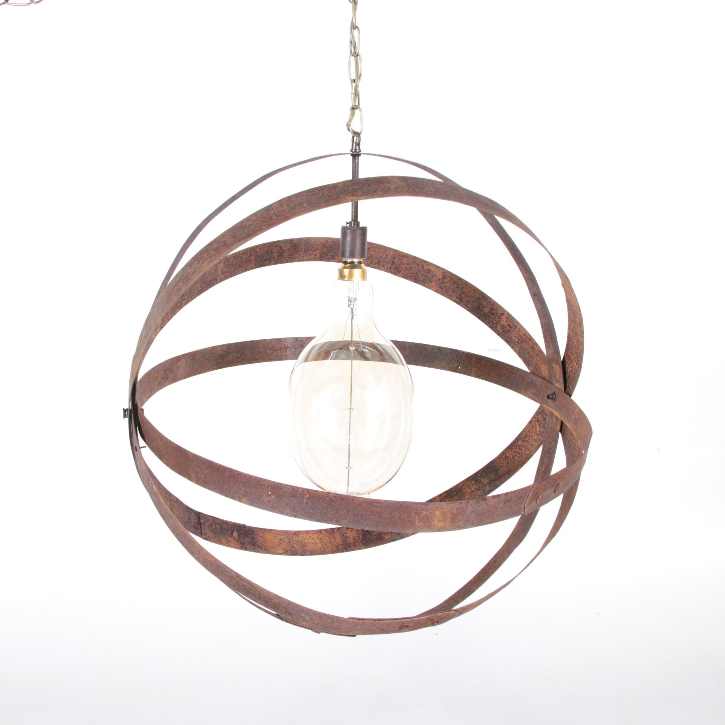 Industrial Metal Chandelier with Bulbrite Bulb