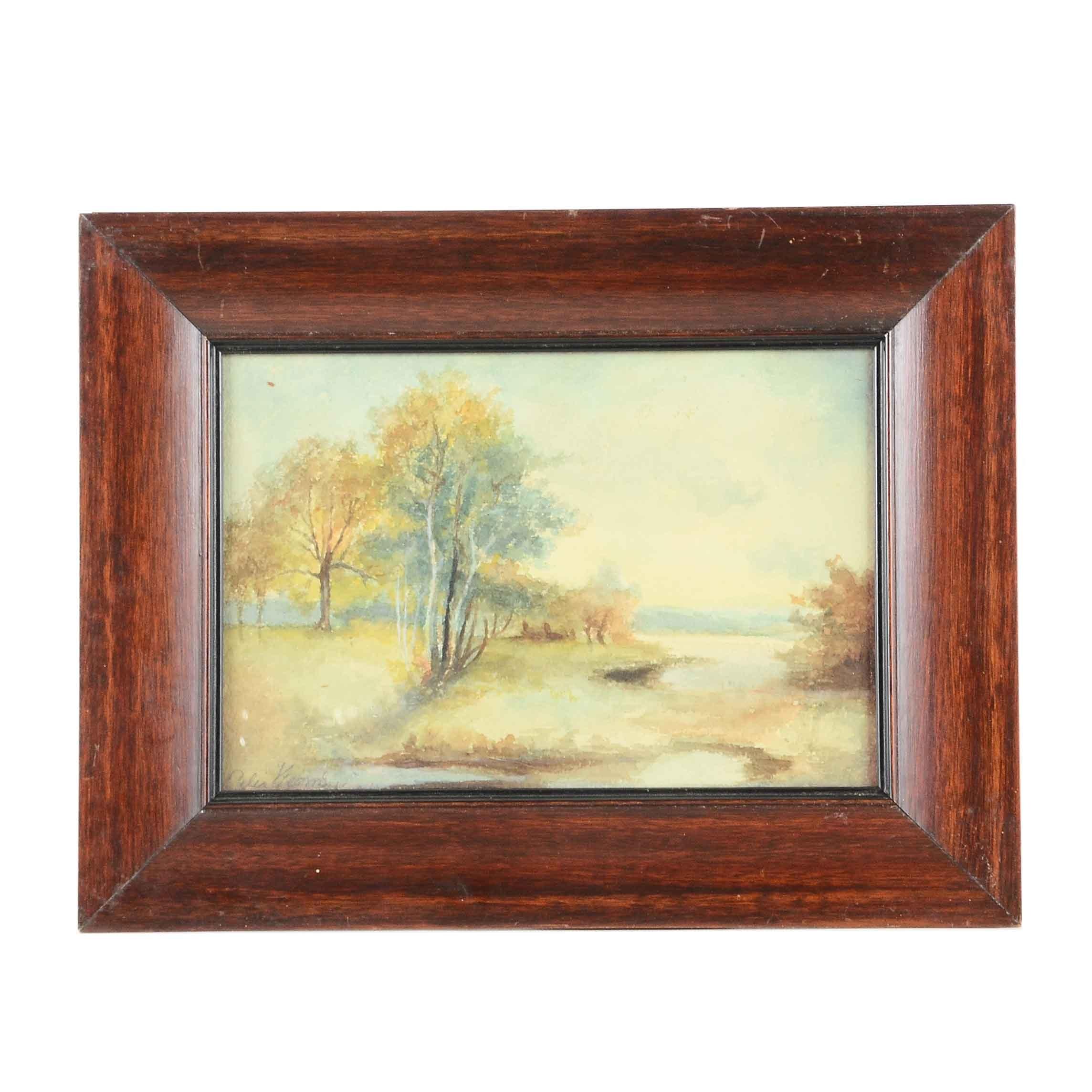 Celia V. Watercolor of a Landscape