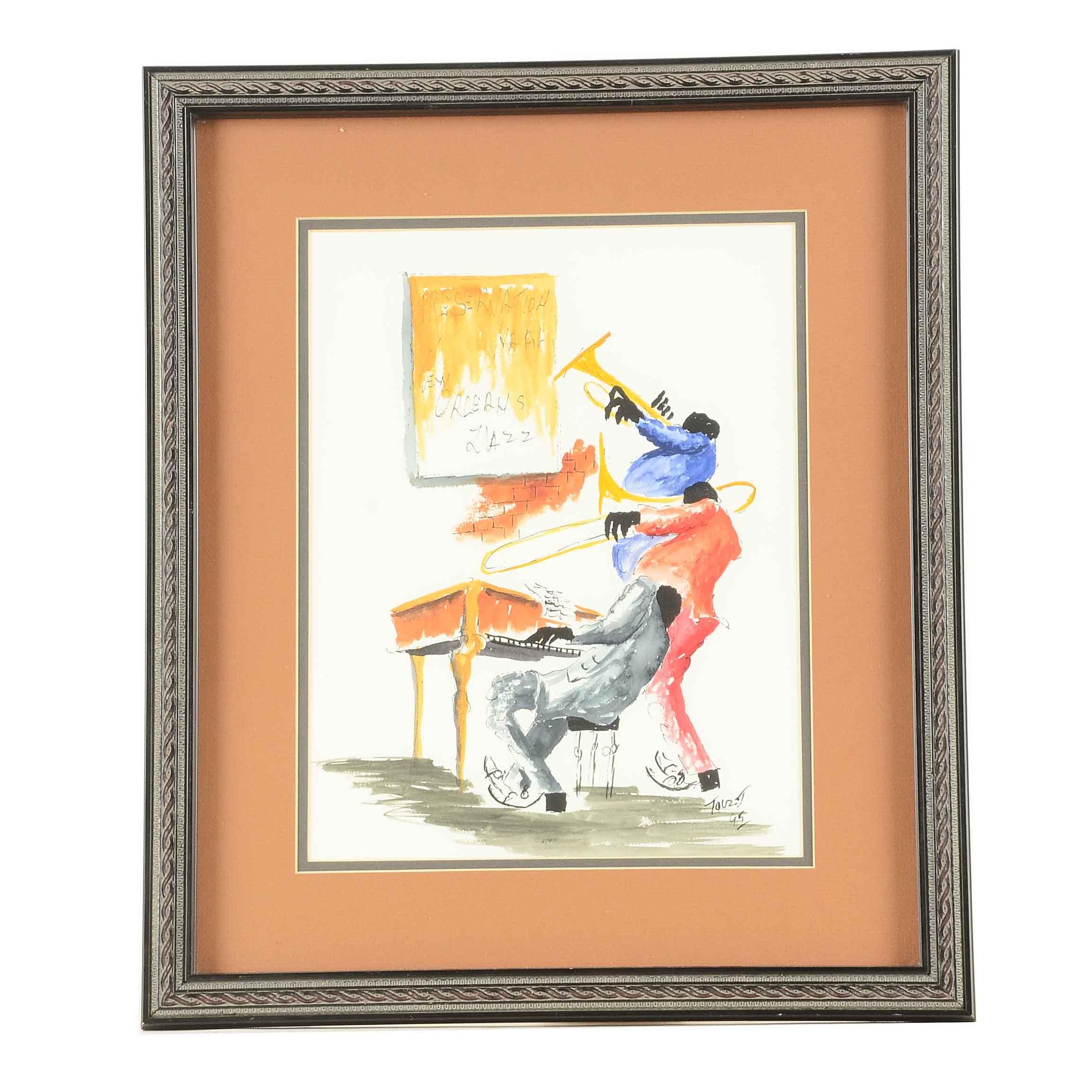 Original Watercolor of New Orleans Jazz Musicians