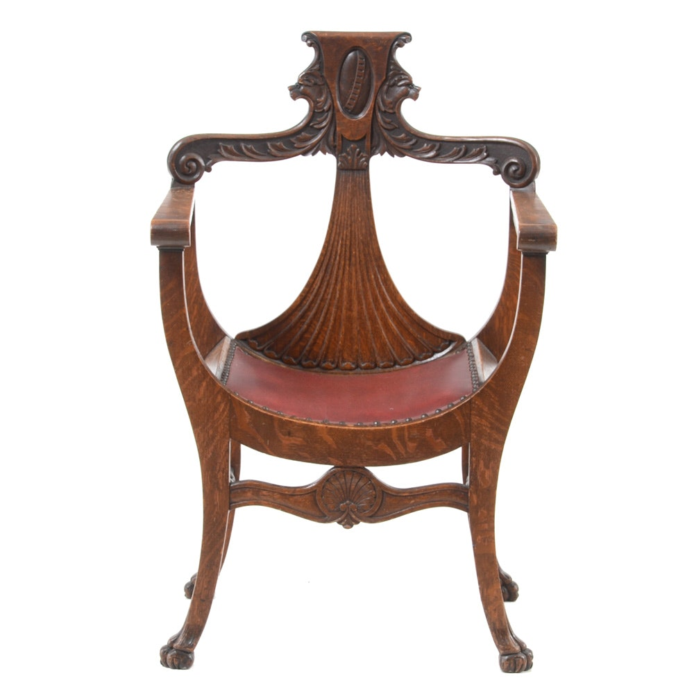 Antique Oak Curule Chair