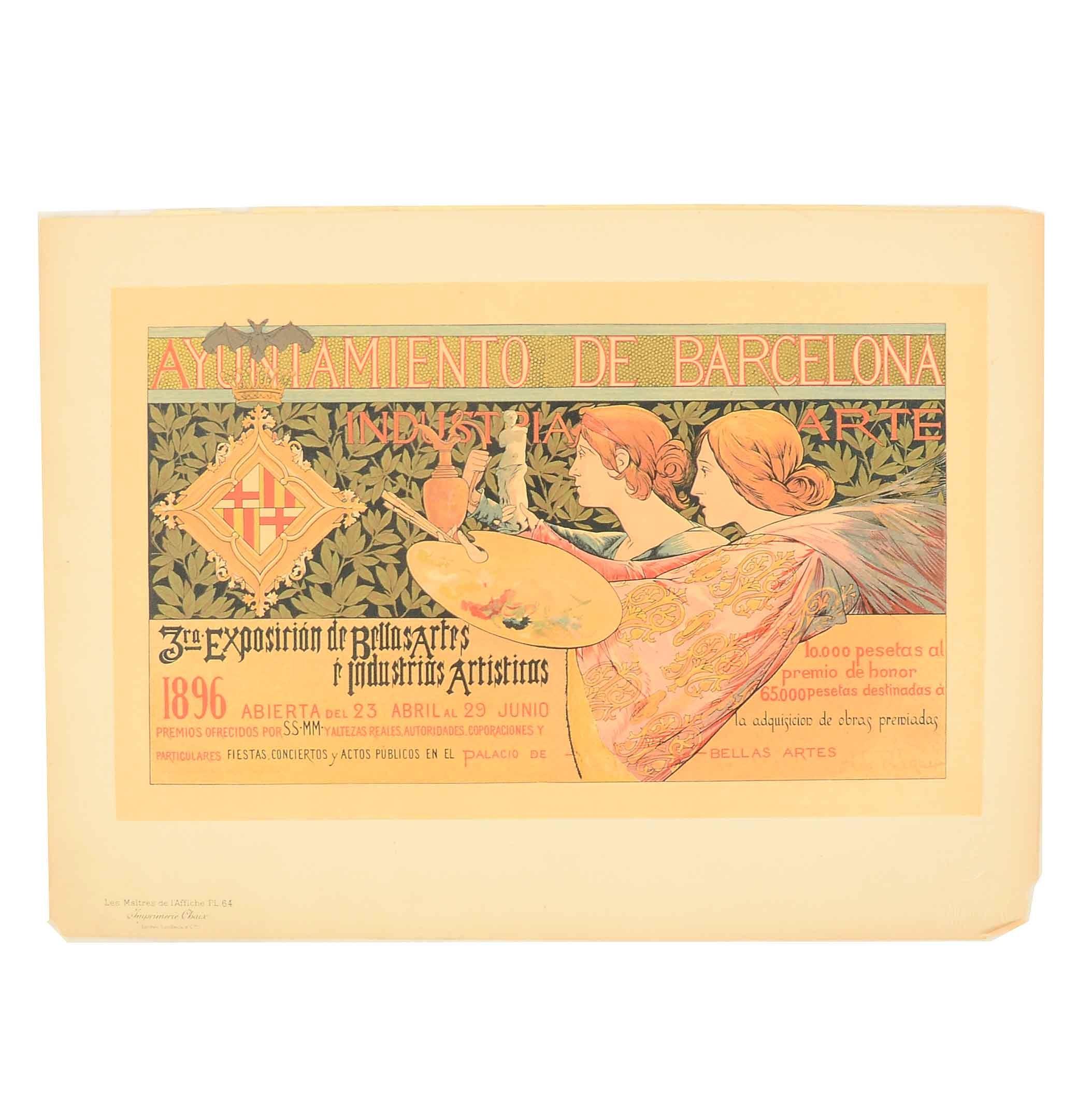 """Antique """"Les Maitres de l'Affiche"""" Lithograph after A. de Riquer"""