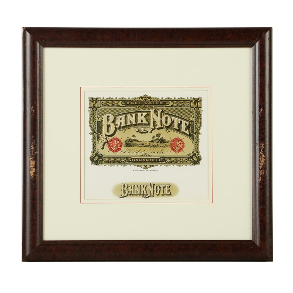 Lithograph on Paper of Circa 1920 Bank Note Cigar Label