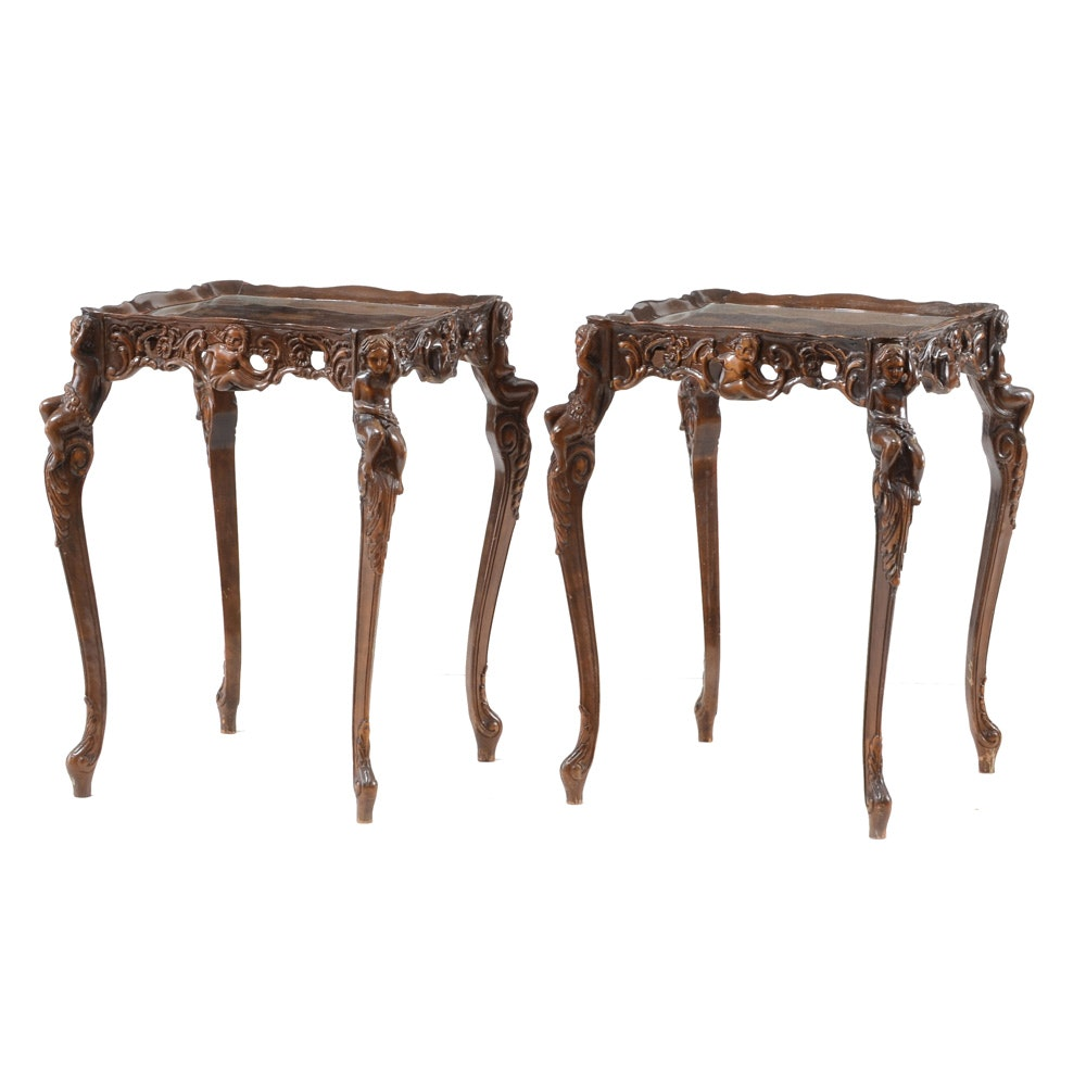 Pair of Inlaid and Carved Accent Tables
